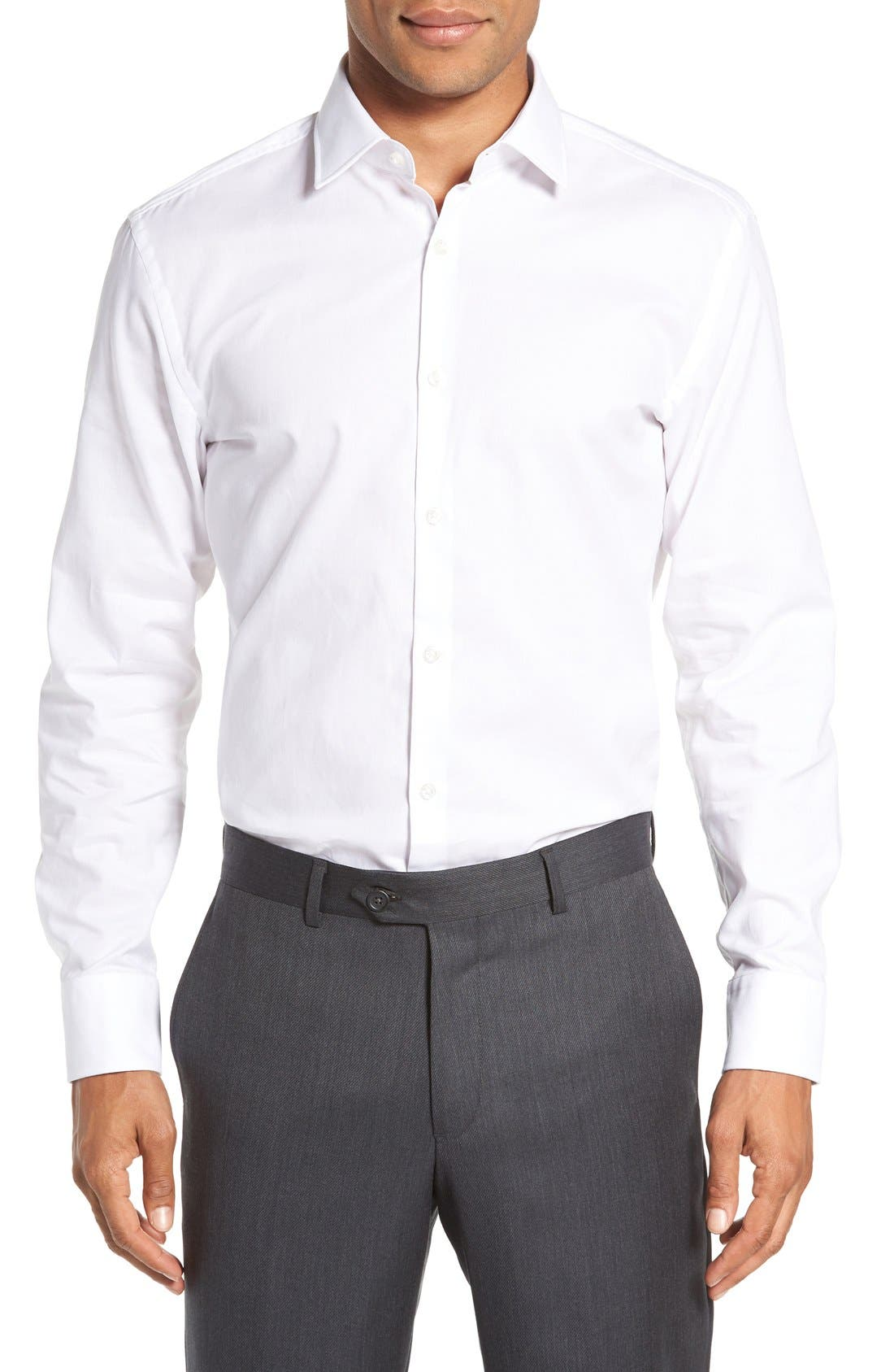 Sharp Fit Solid Dress Shirt,                             Alternate thumbnail 8, color,