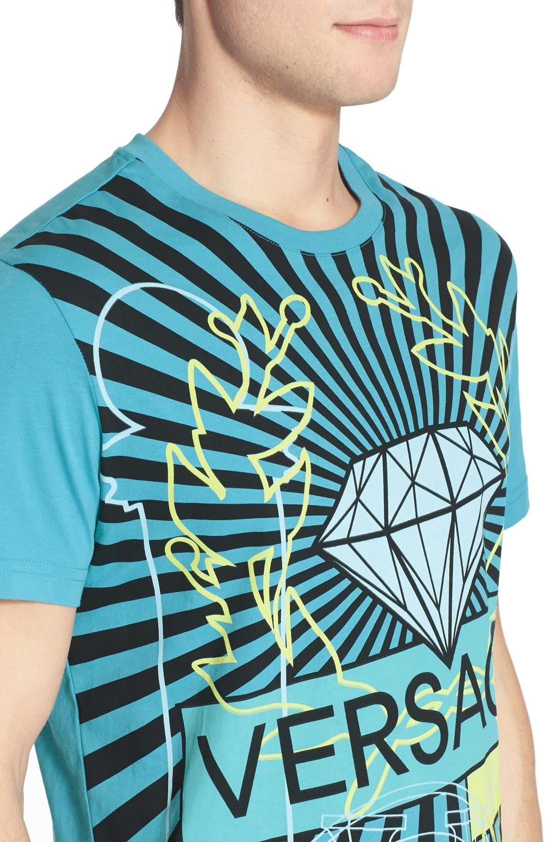 VERSACE JEANS,                             Diamond Print T-Shirt,                             Alternate thumbnail 3, color,                             440