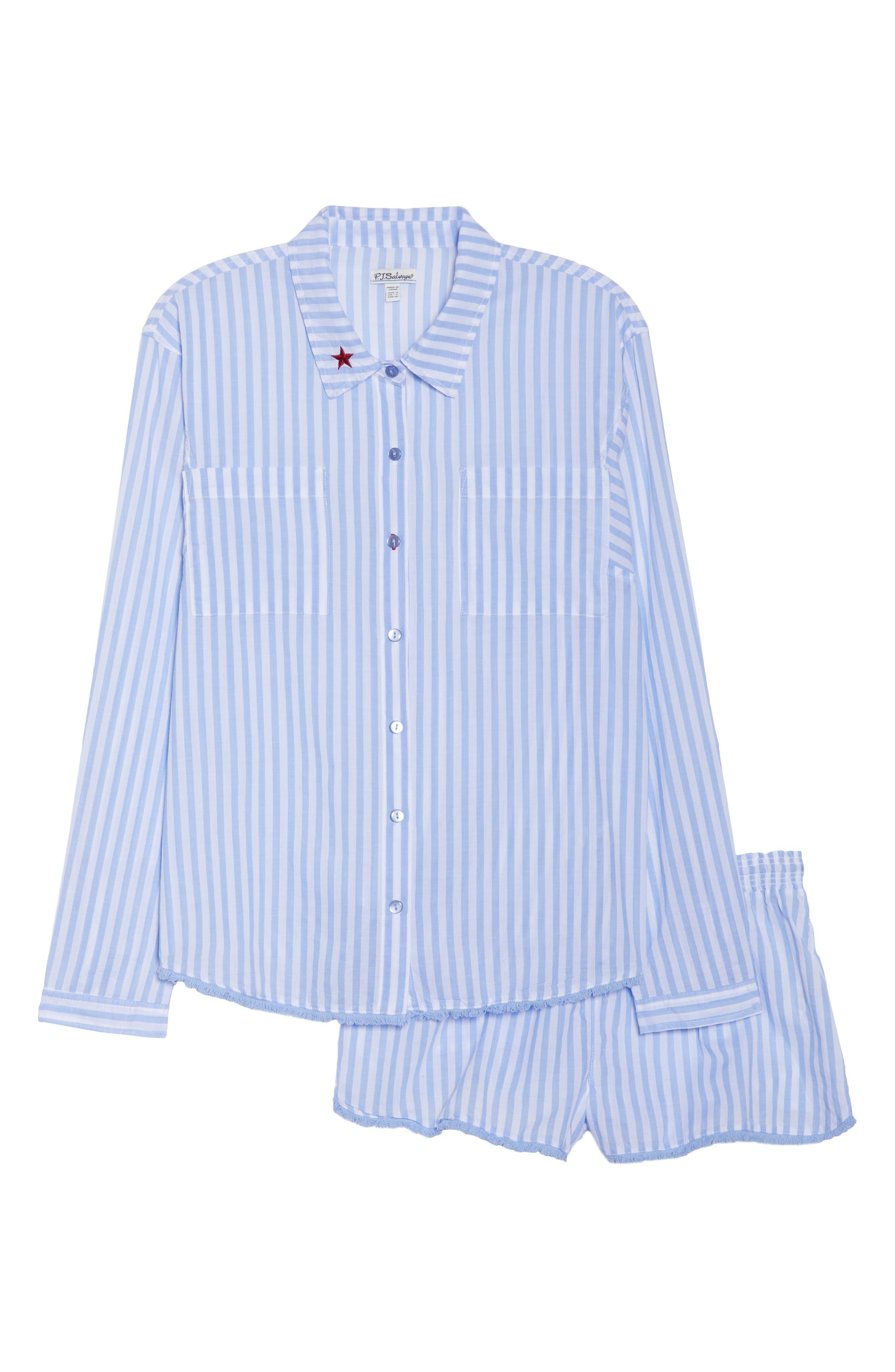 Stripe Short Pajamas,                             Alternate thumbnail 6, color,                             100