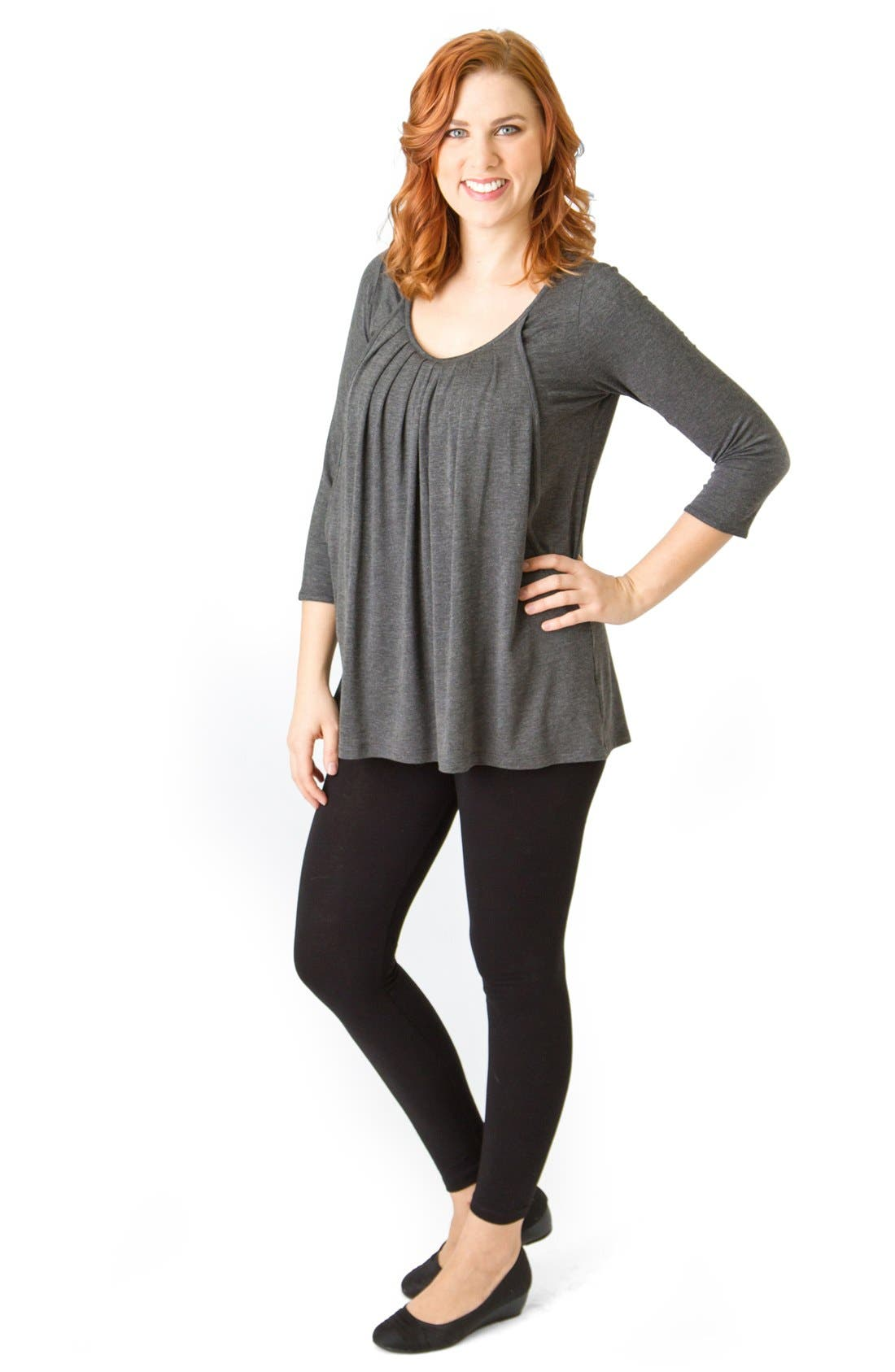 Pleated Maternity/Nursing Top,                             Alternate thumbnail 6, color,