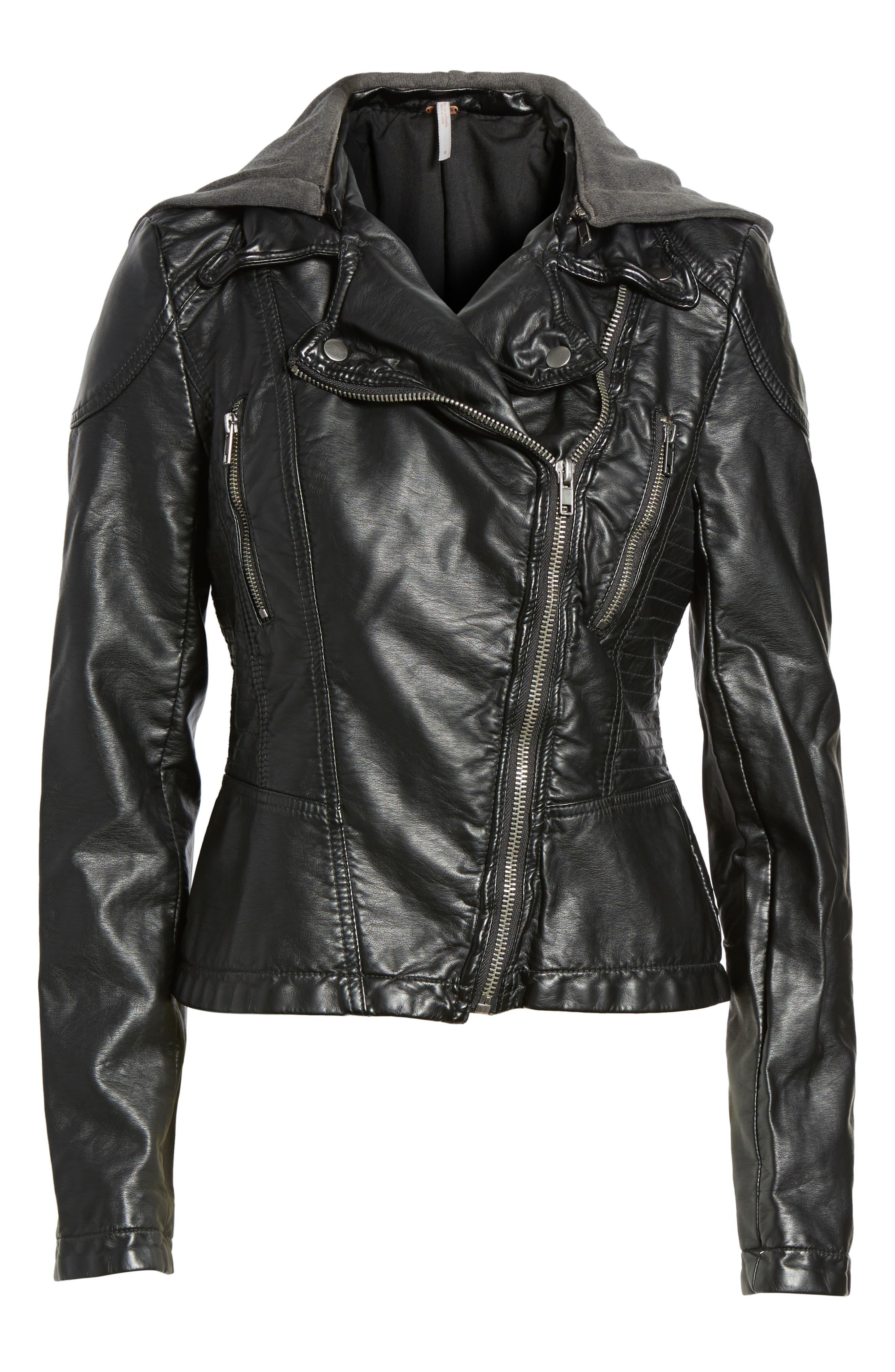 Hooded Faux Leather Moto Jacket,                             Main thumbnail 1, color,                             001