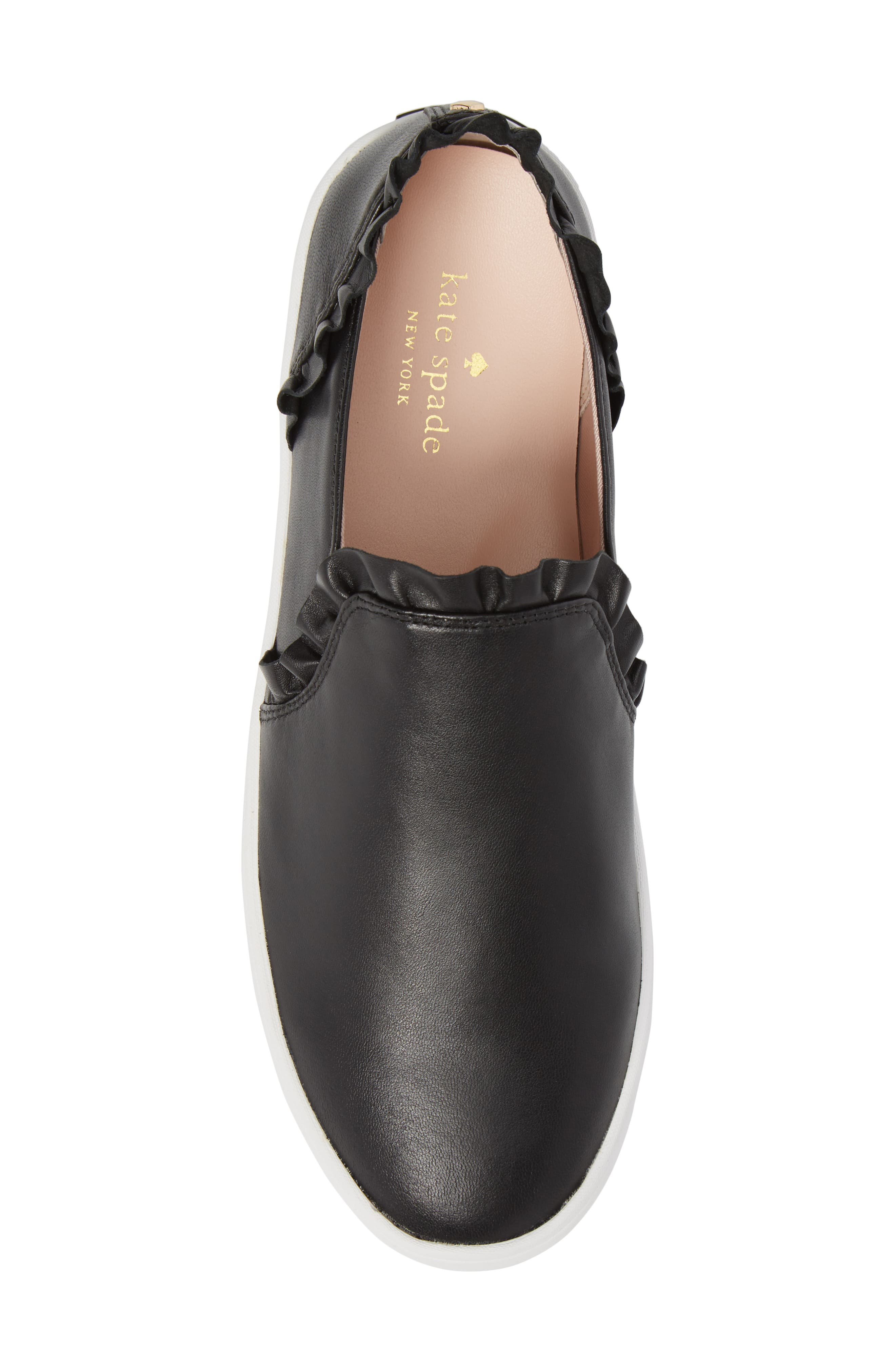 lilly ruffle slip-on sneaker,                             Alternate thumbnail 5, color,                             BLACK NAPPA
