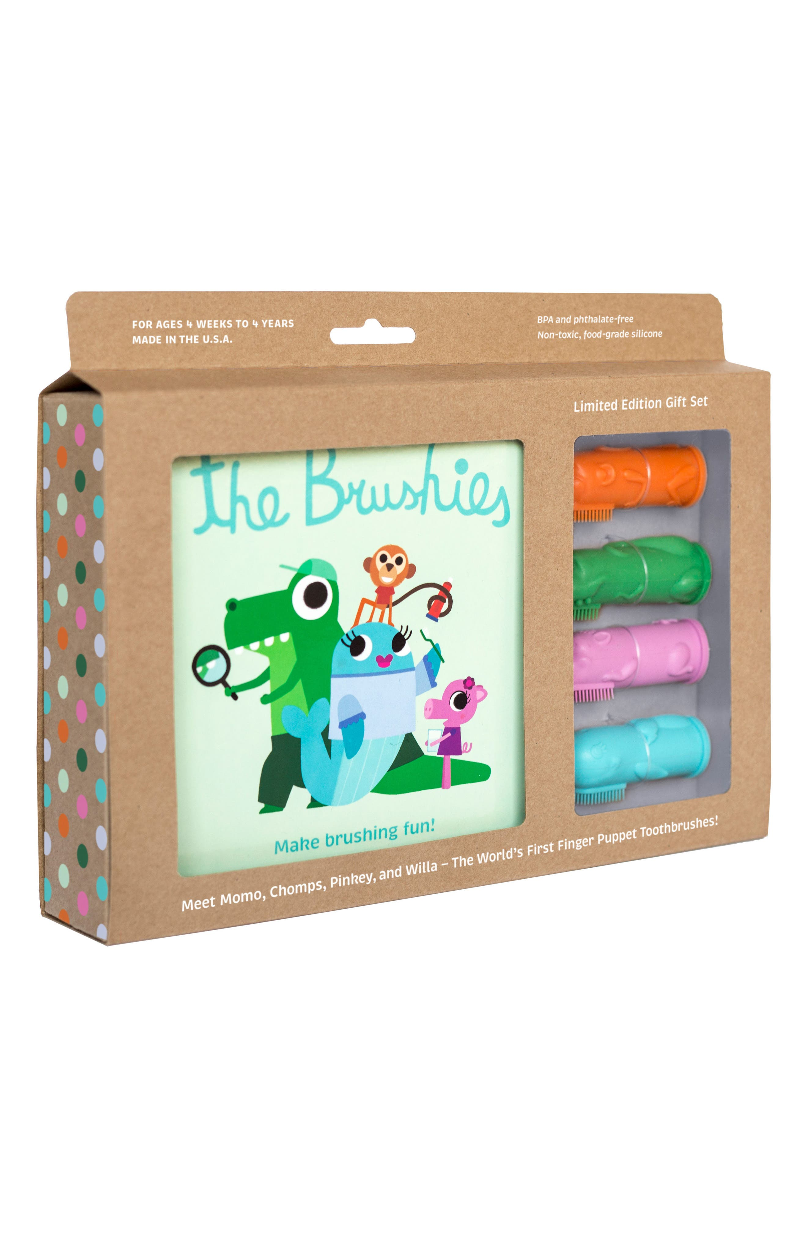 Book & Finger Puppet Toothbrush Gift Set,                             Main thumbnail 1, color,