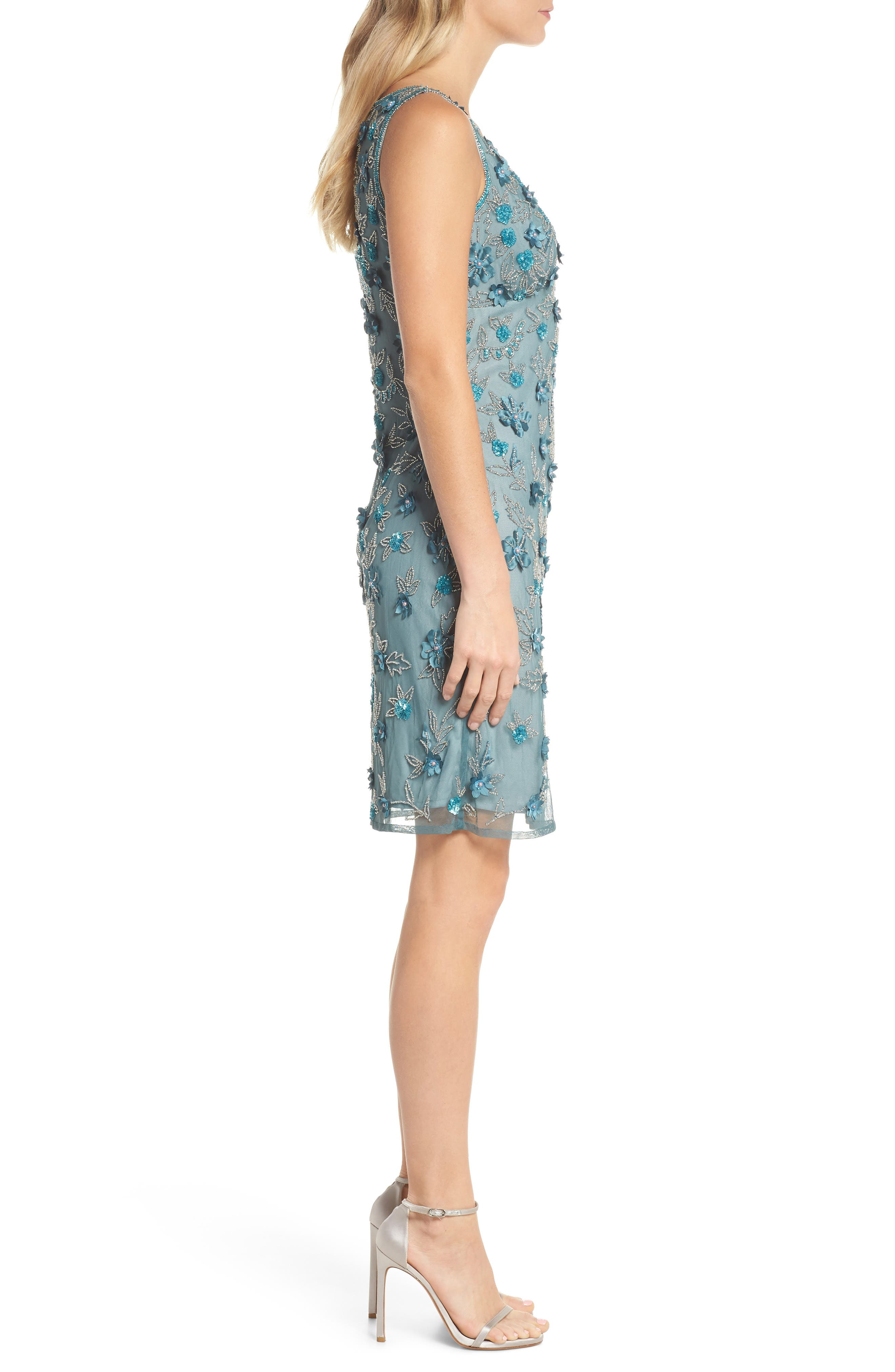 3D Floral Embellished Sheath Dress,                             Alternate thumbnail 3, color,                             400