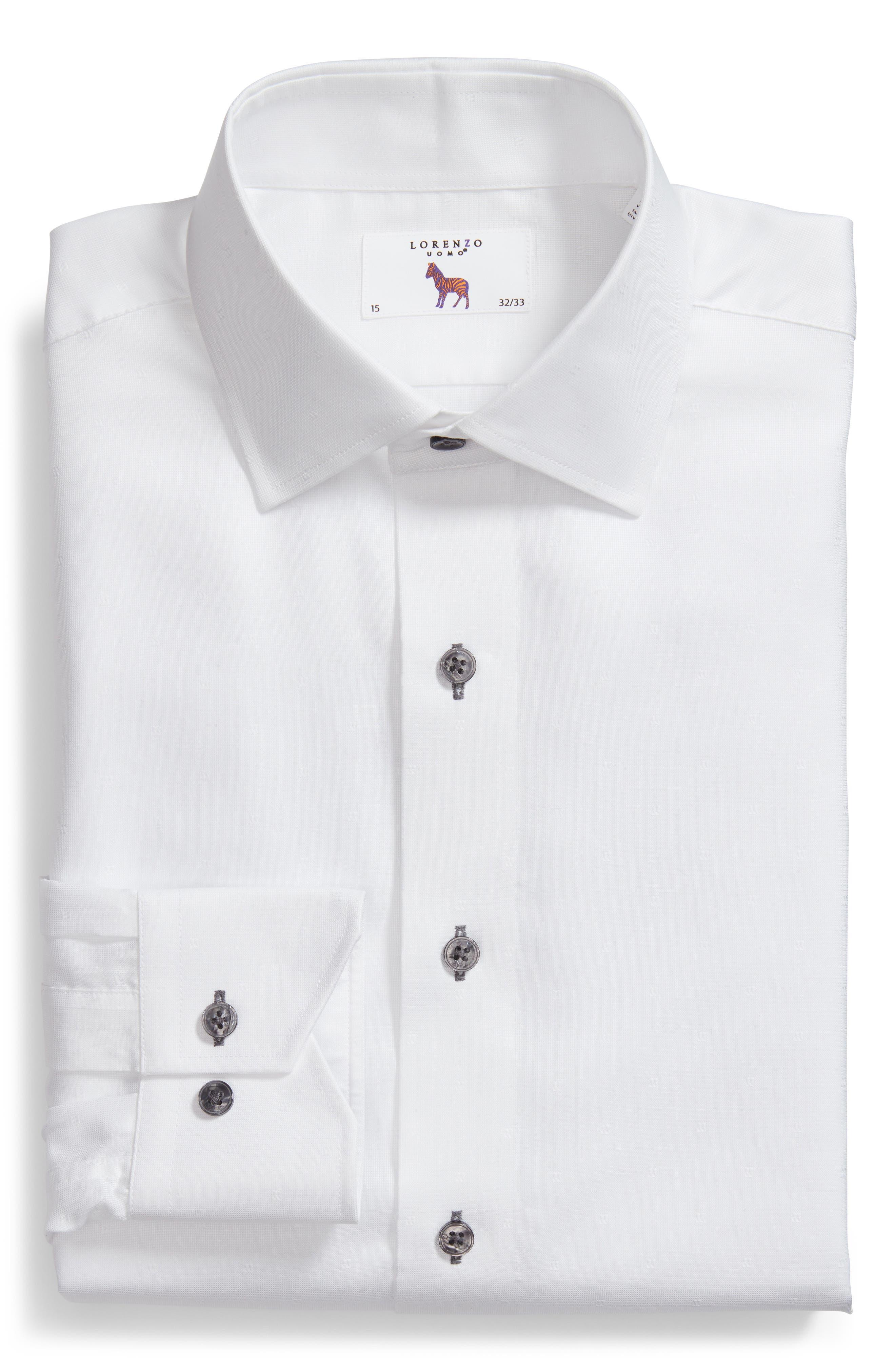 Trim Fit Textured Dress Shirt,                             Alternate thumbnail 5, color,                             WHITE
