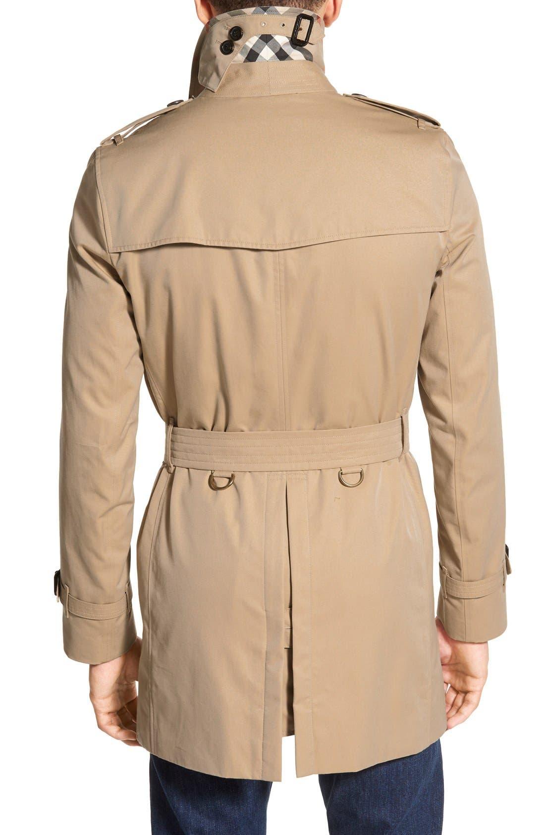 Kensington Double Breasted Trench Coat,                             Alternate thumbnail 3, color,                             HONEY