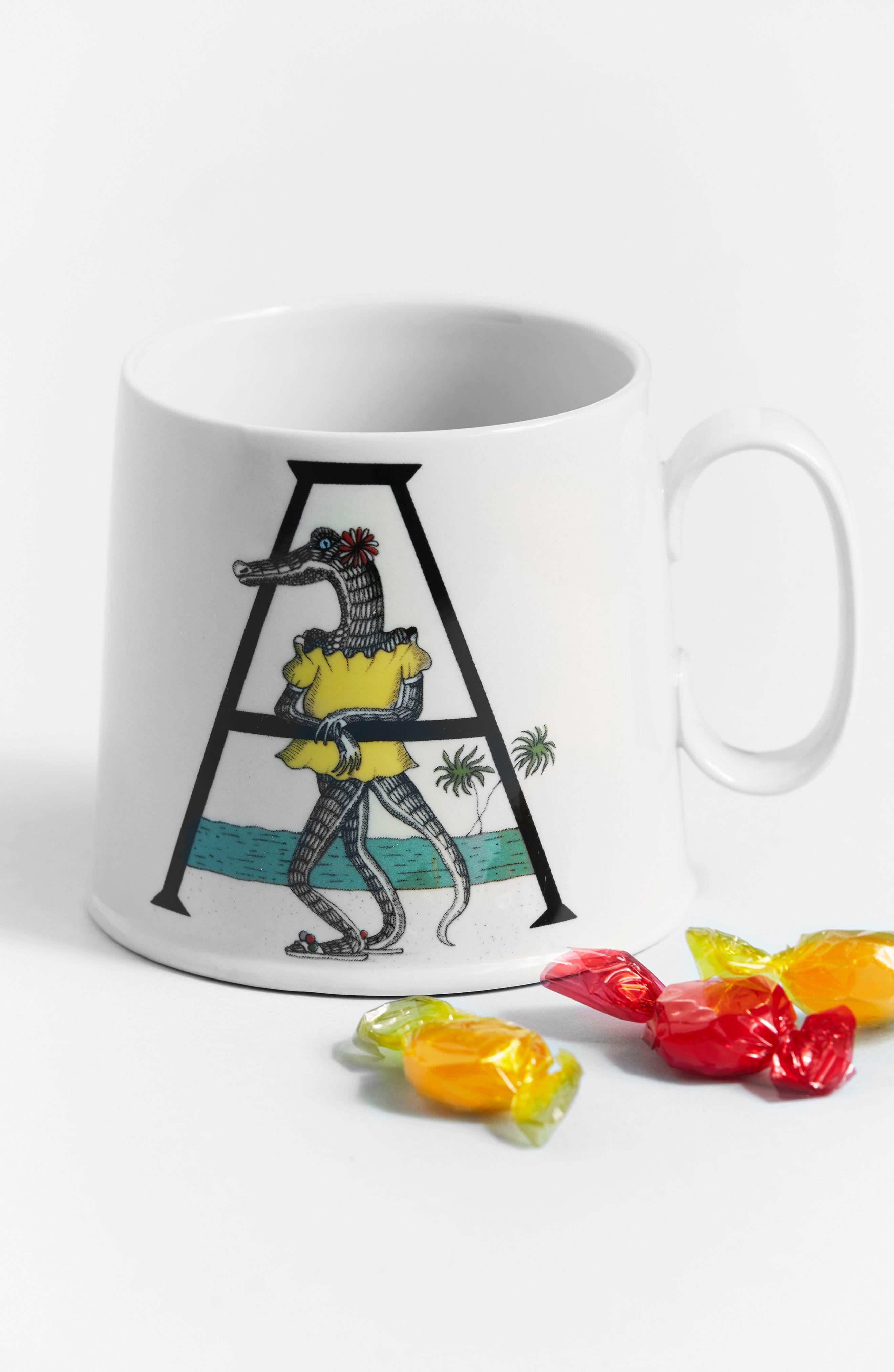 Animal Alphabet Monogram Mug,                             Alternate thumbnail 3, color,                             100