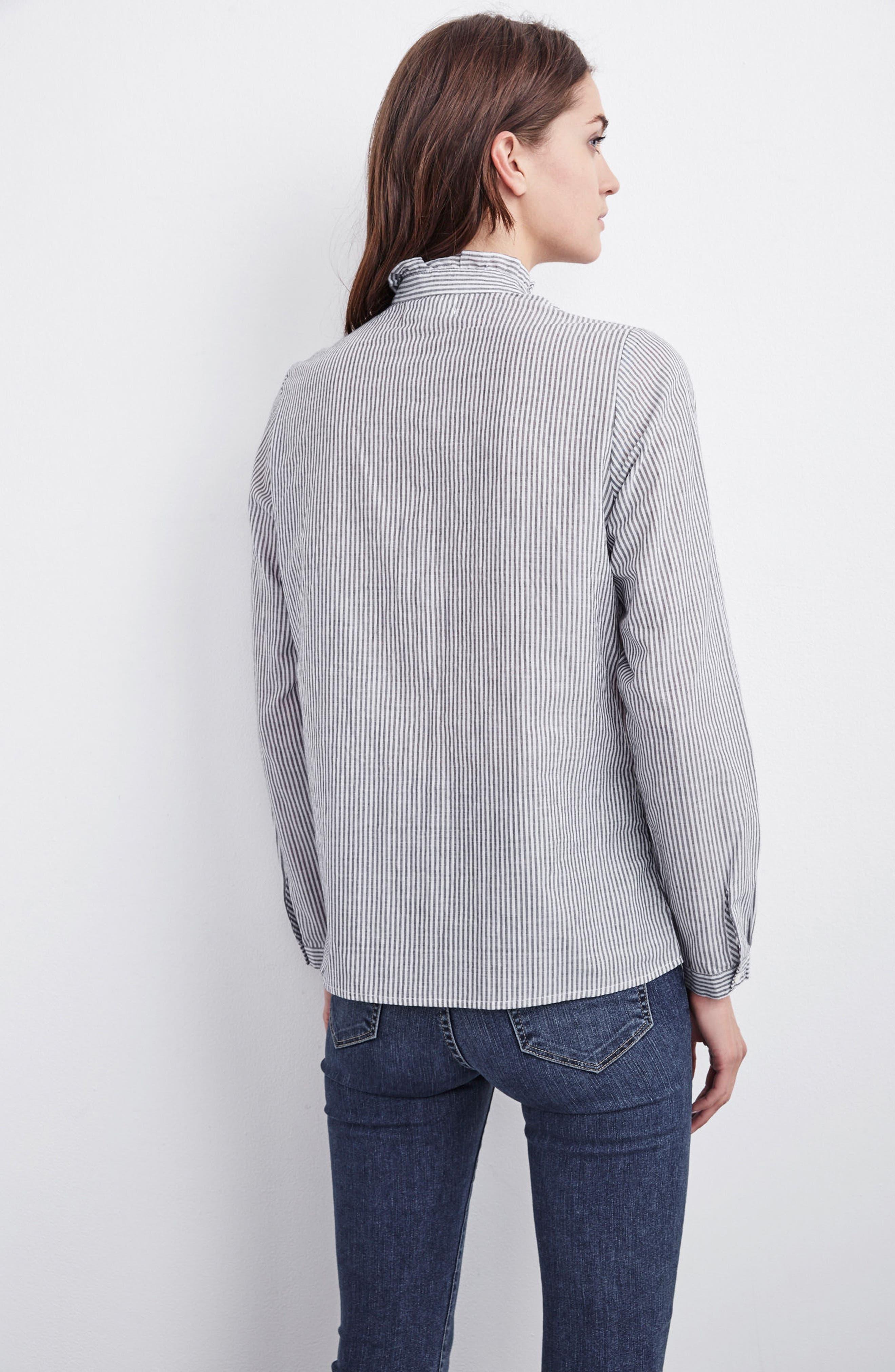 Velvet Embroidered Stripe Shirt,                             Alternate thumbnail 8, color,                             960