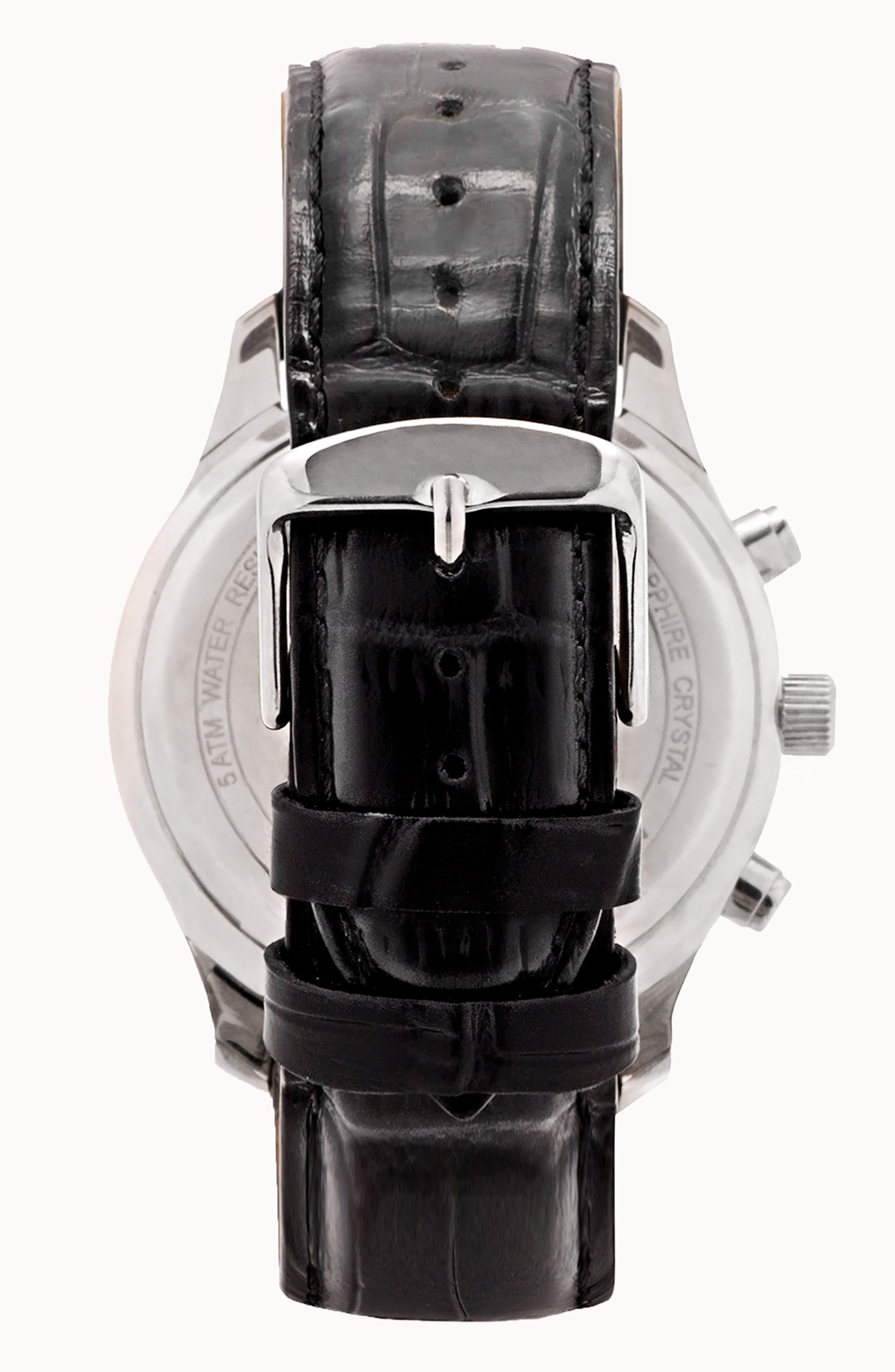 LEONARD & CHURCH,                             Astor Chronograph Leather Strap Watch, 45mm,                             Alternate thumbnail 2, color,                             001