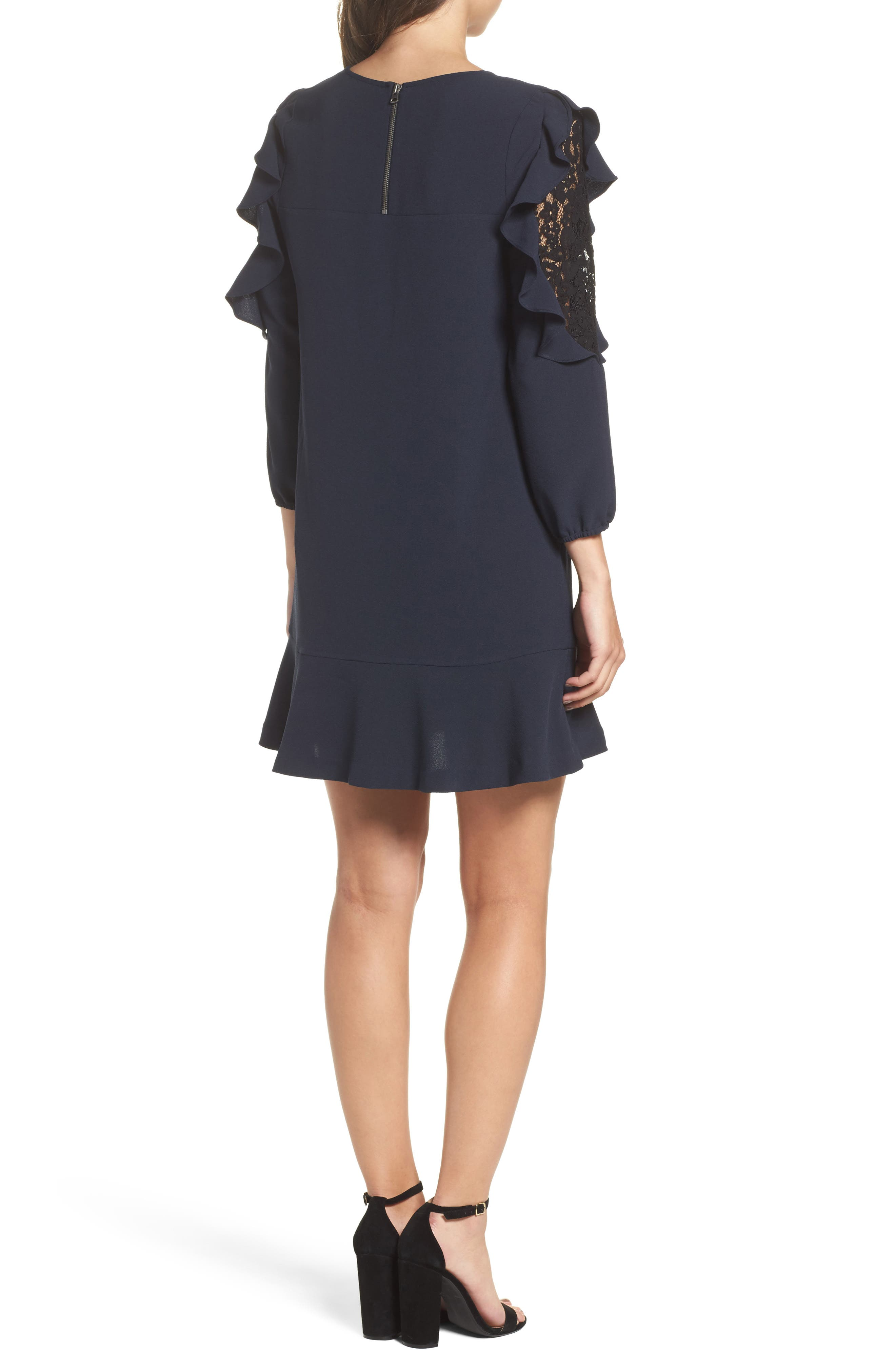 Stefani Ruffle Lace Dress,                             Alternate thumbnail 2, color,