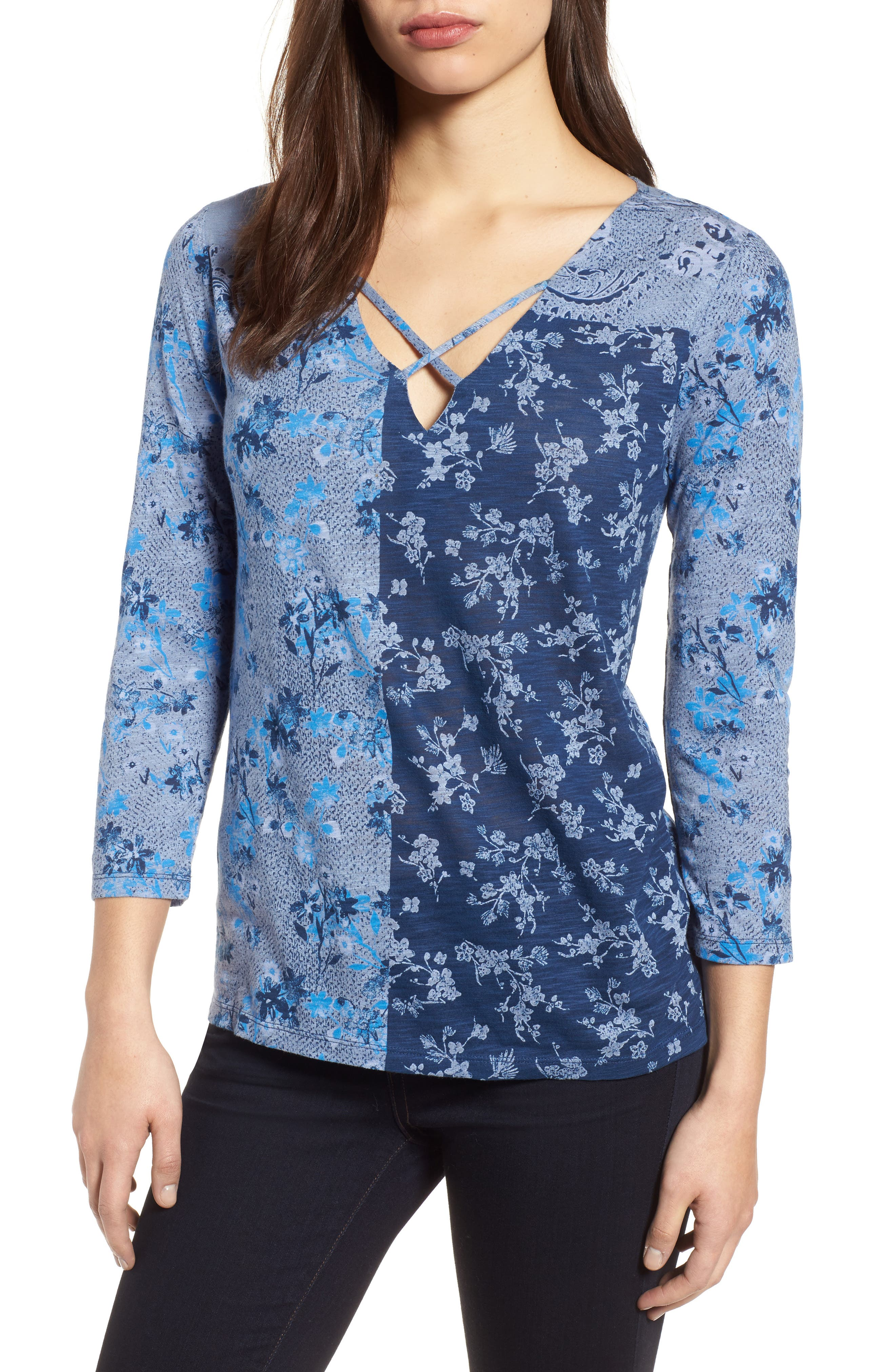 Madeline Floral Tee,                             Main thumbnail 1, color,                             460