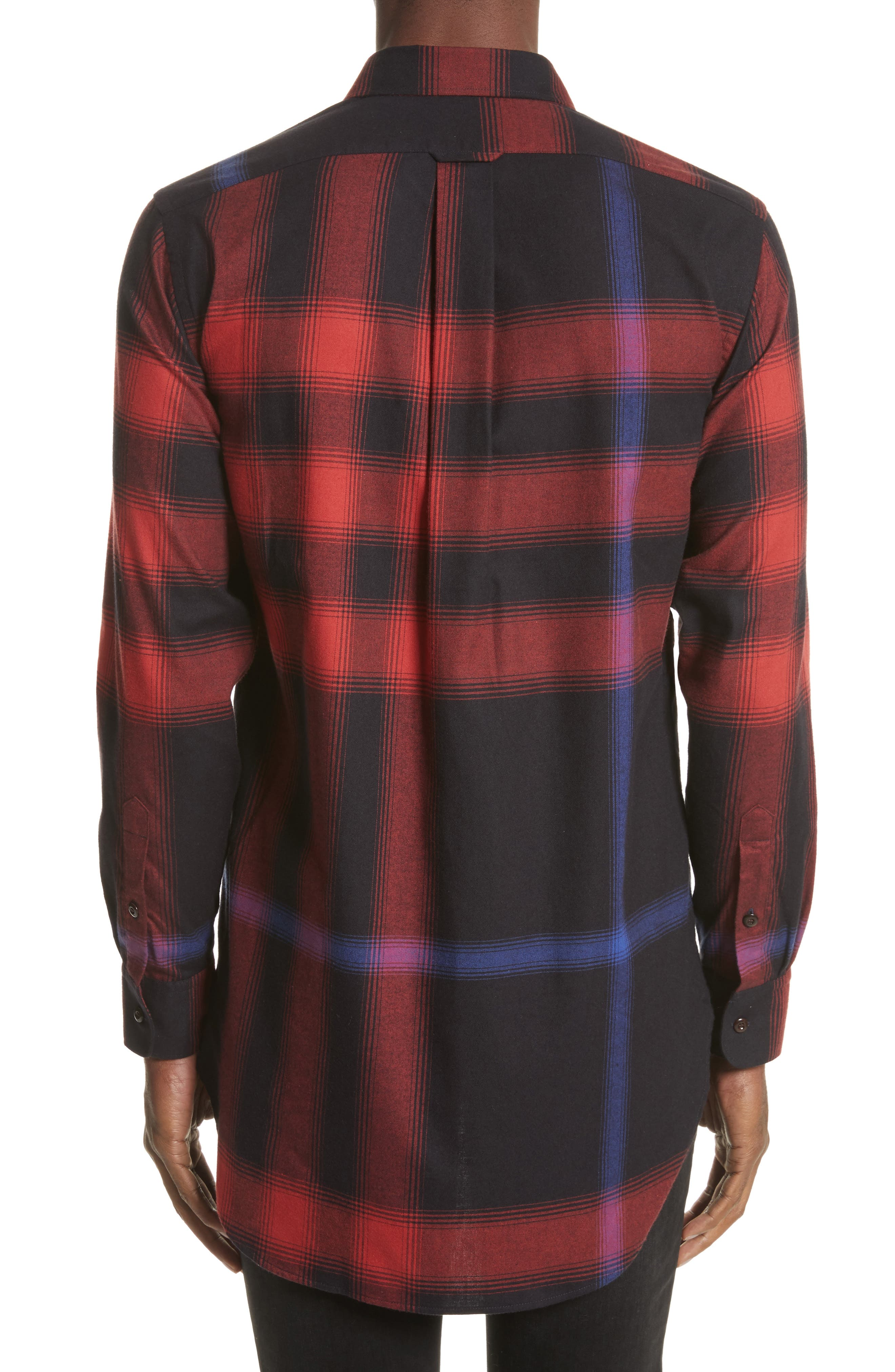 Strenton Slim Fit Plaid Long Sport Shirt,                             Alternate thumbnail 3, color,