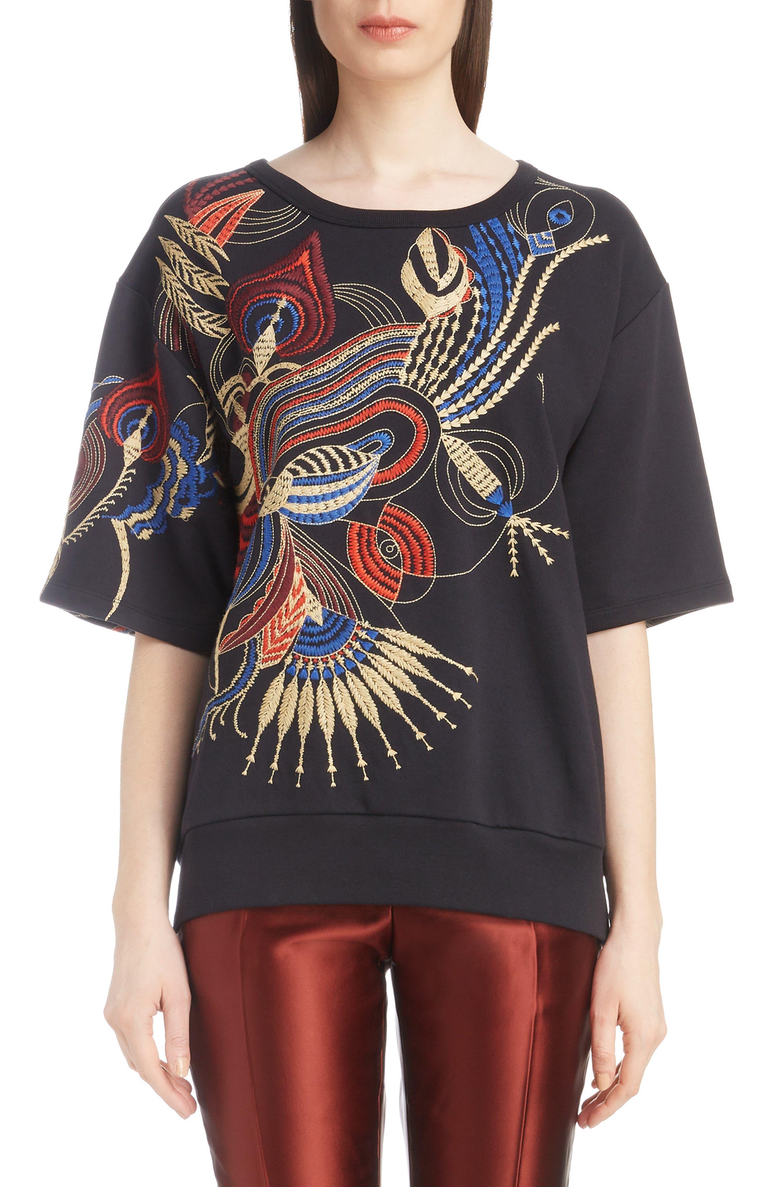 DRIES VAN NOTEN,                             Fan Embroidered Sweatshirt,                             Main thumbnail 1, color,                             001