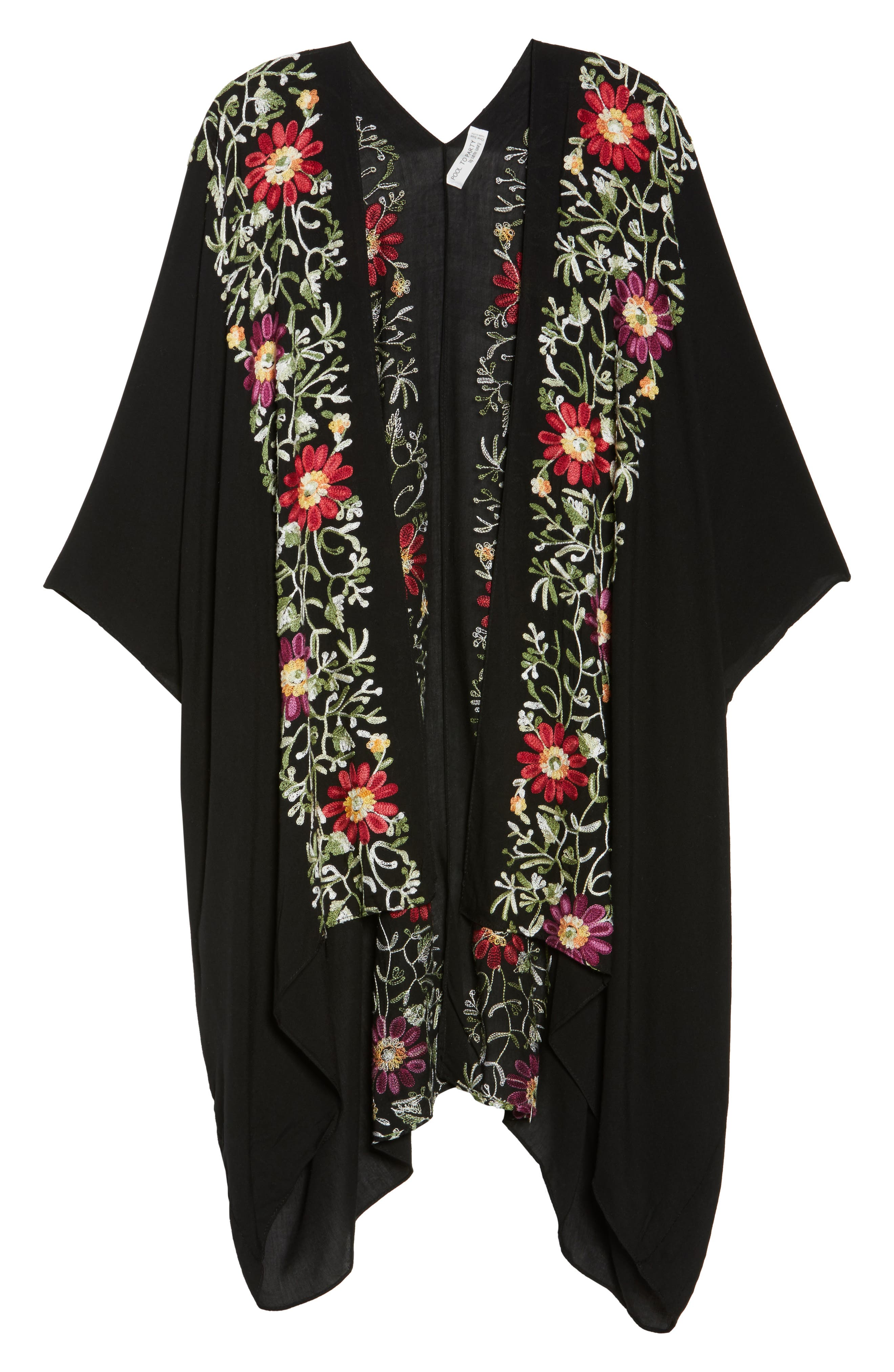 Embroidered Cover-Up Kimono,                             Alternate thumbnail 6, color,                             BLACK