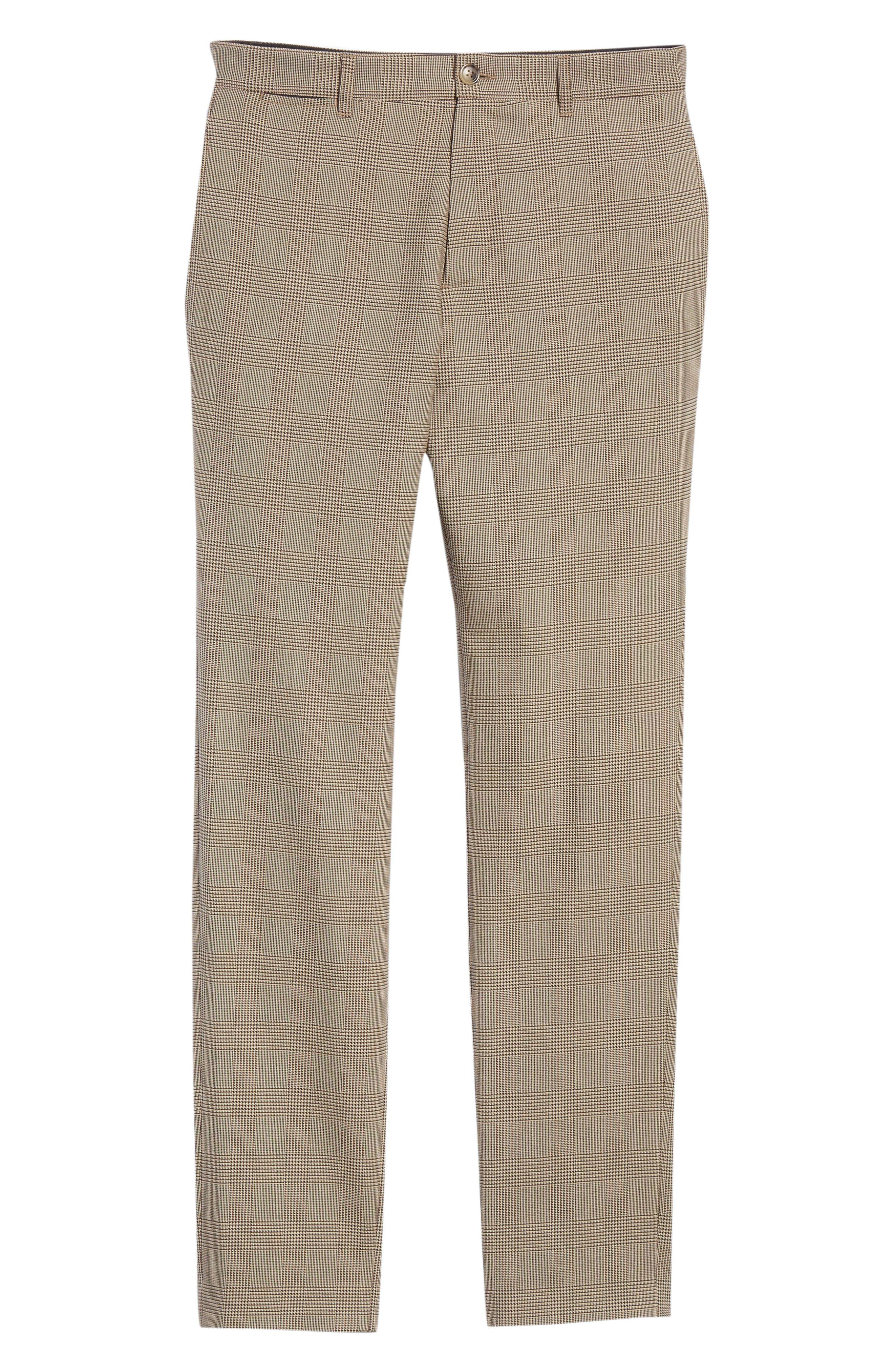 Check Wool Blend Pants,                             Alternate thumbnail 6, color,                             BAC BEIGE