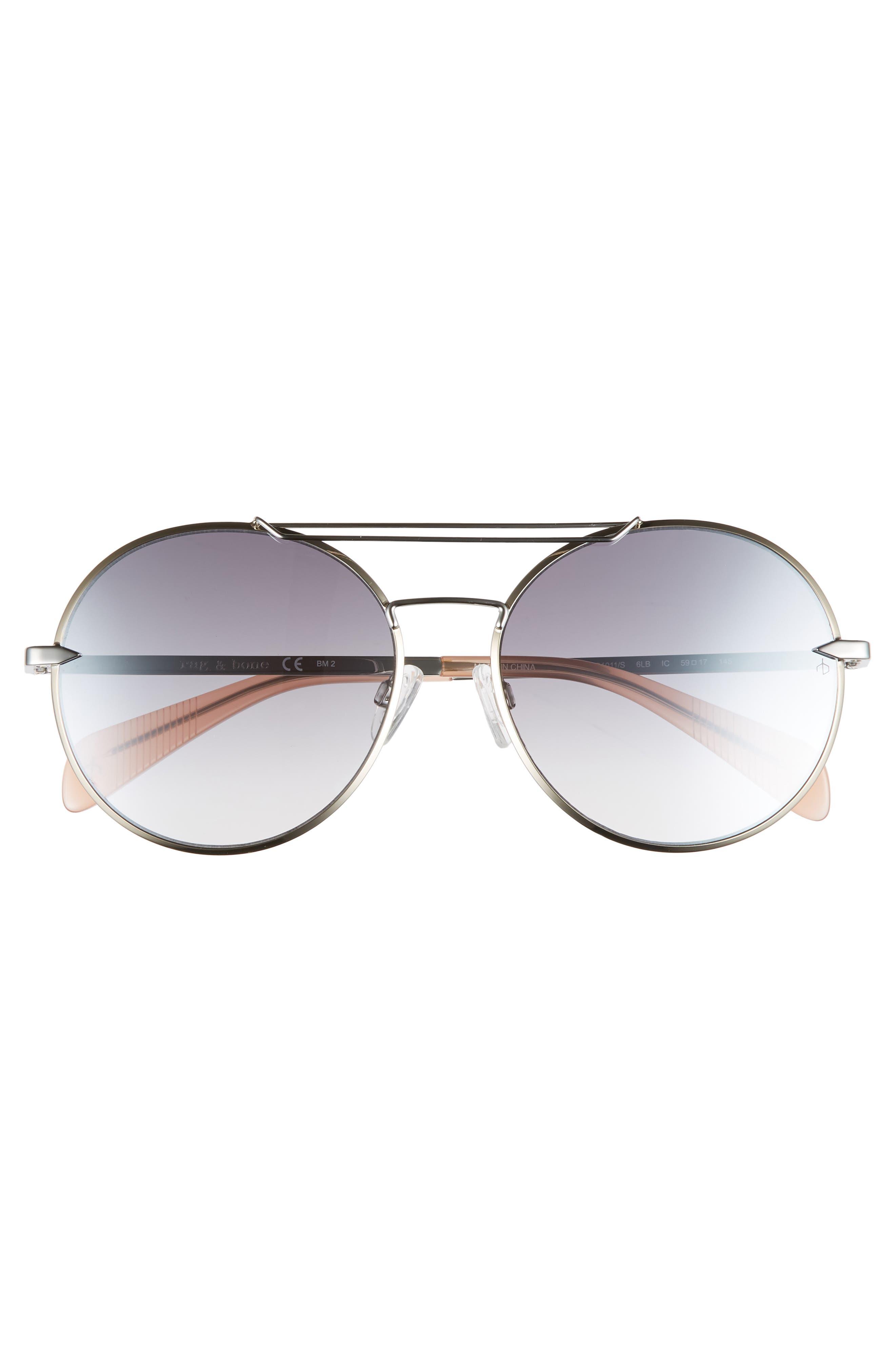 59mm Round Metal Aviator Sunglasses,                             Alternate thumbnail 3, color,                             RUTHENIUM