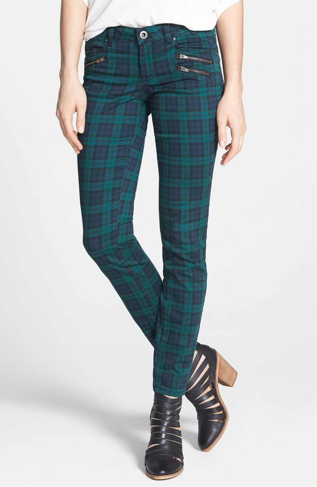 Plaid Skinny Pants, Main, color, 400