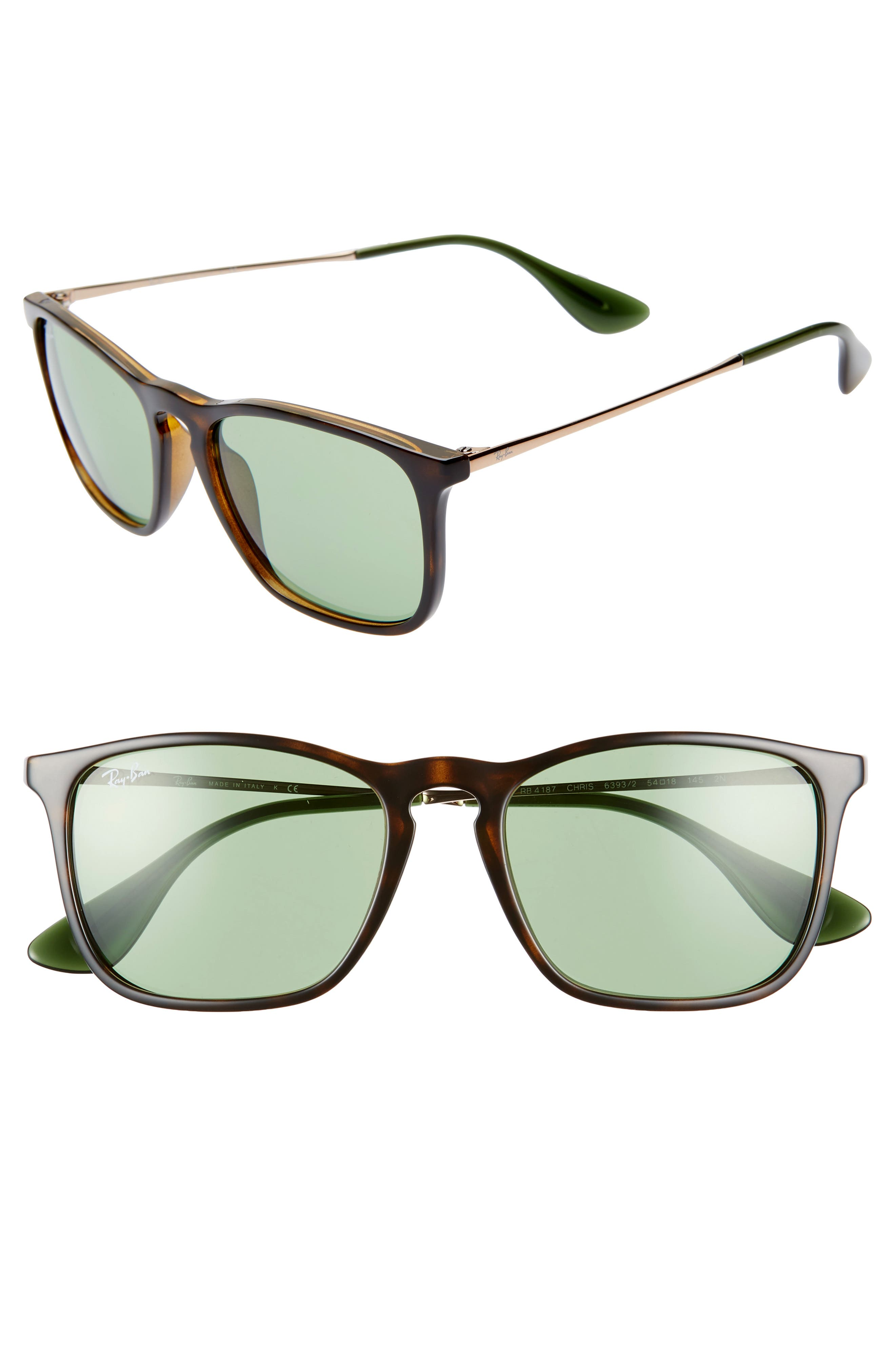 Ray-Ban Youngster 5m Square Keyhole Sunglasses - Tortoise/ Green Solid