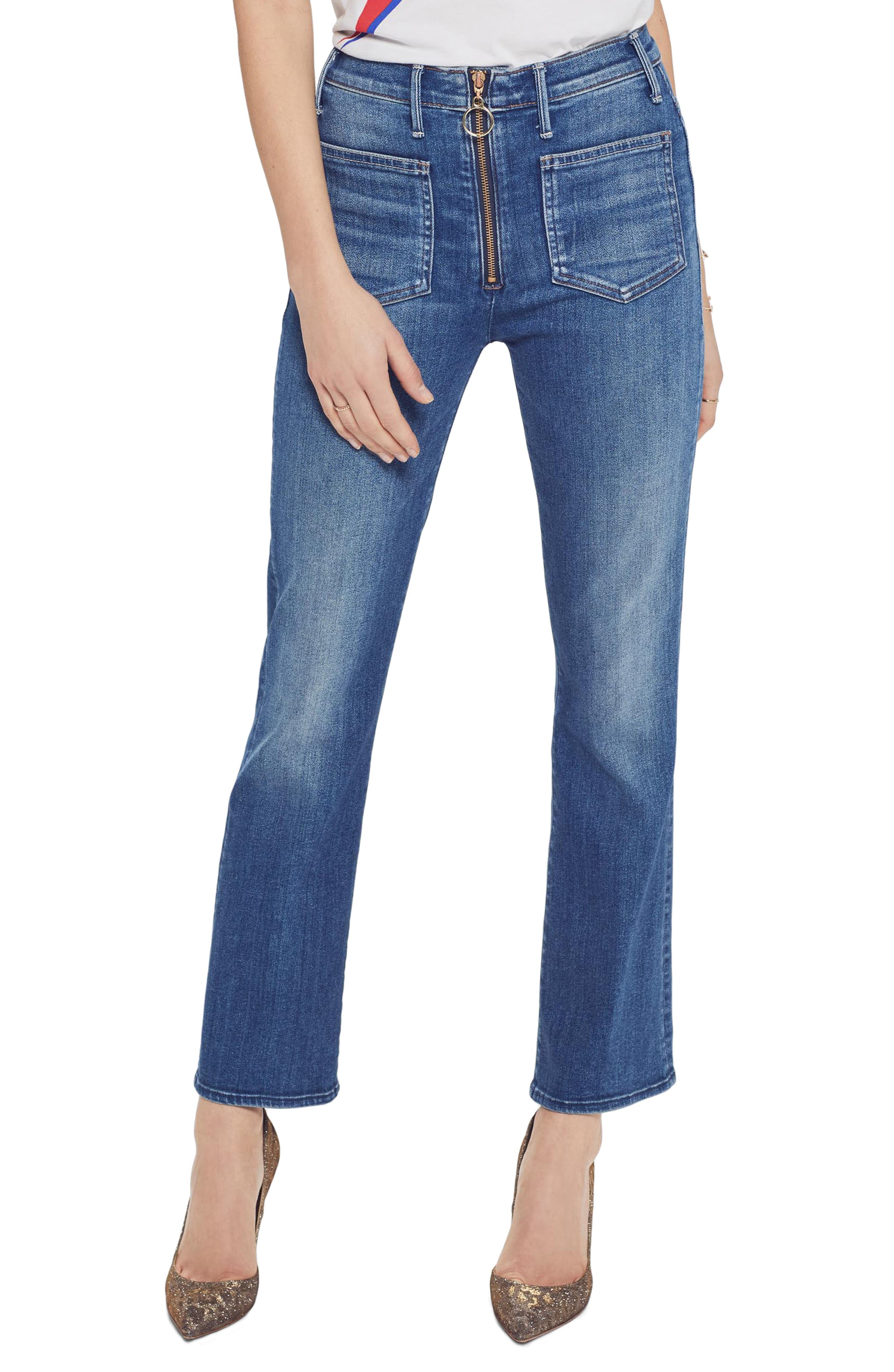 The Insider High Waist Patch Crop Bootcut Jeans in Satisfaction Guaranteed