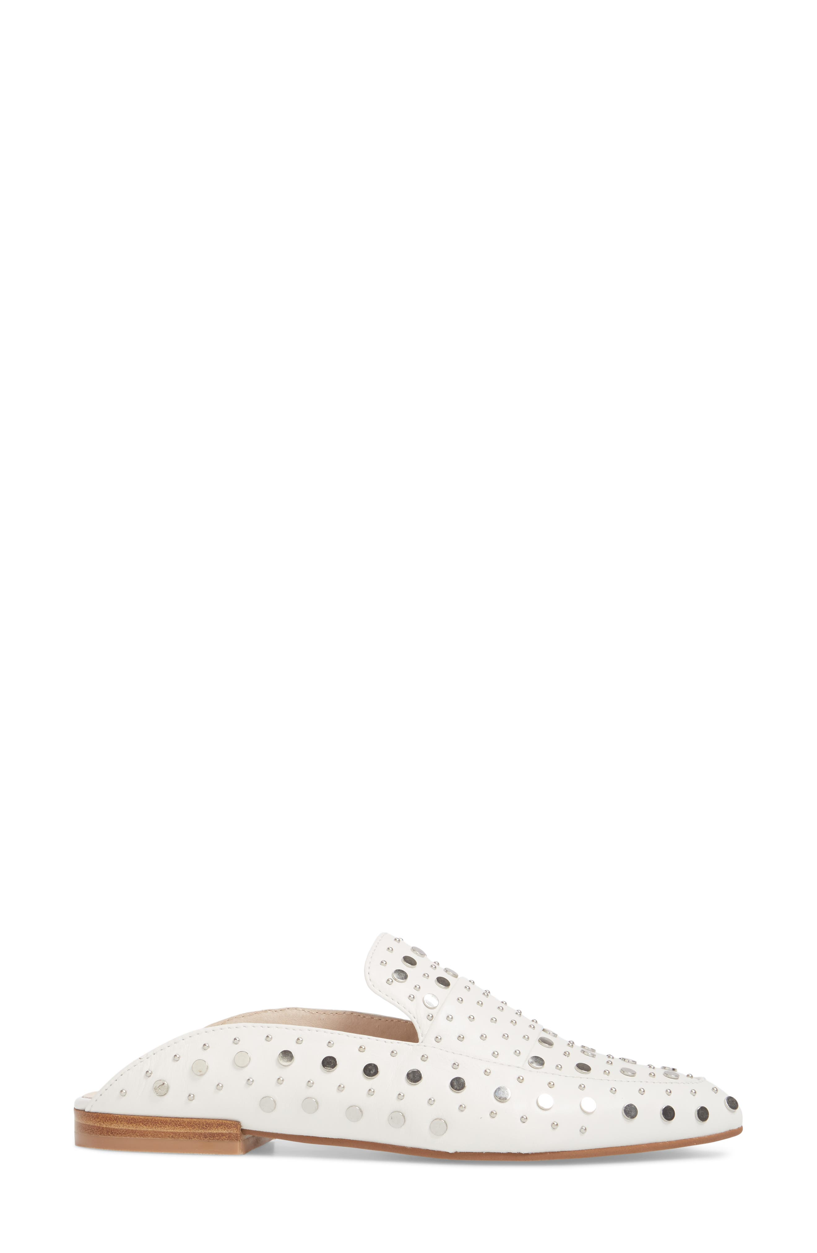 Charlie Studded Loafer Mule,                             Alternate thumbnail 3, color,                             WHITE LEATHER