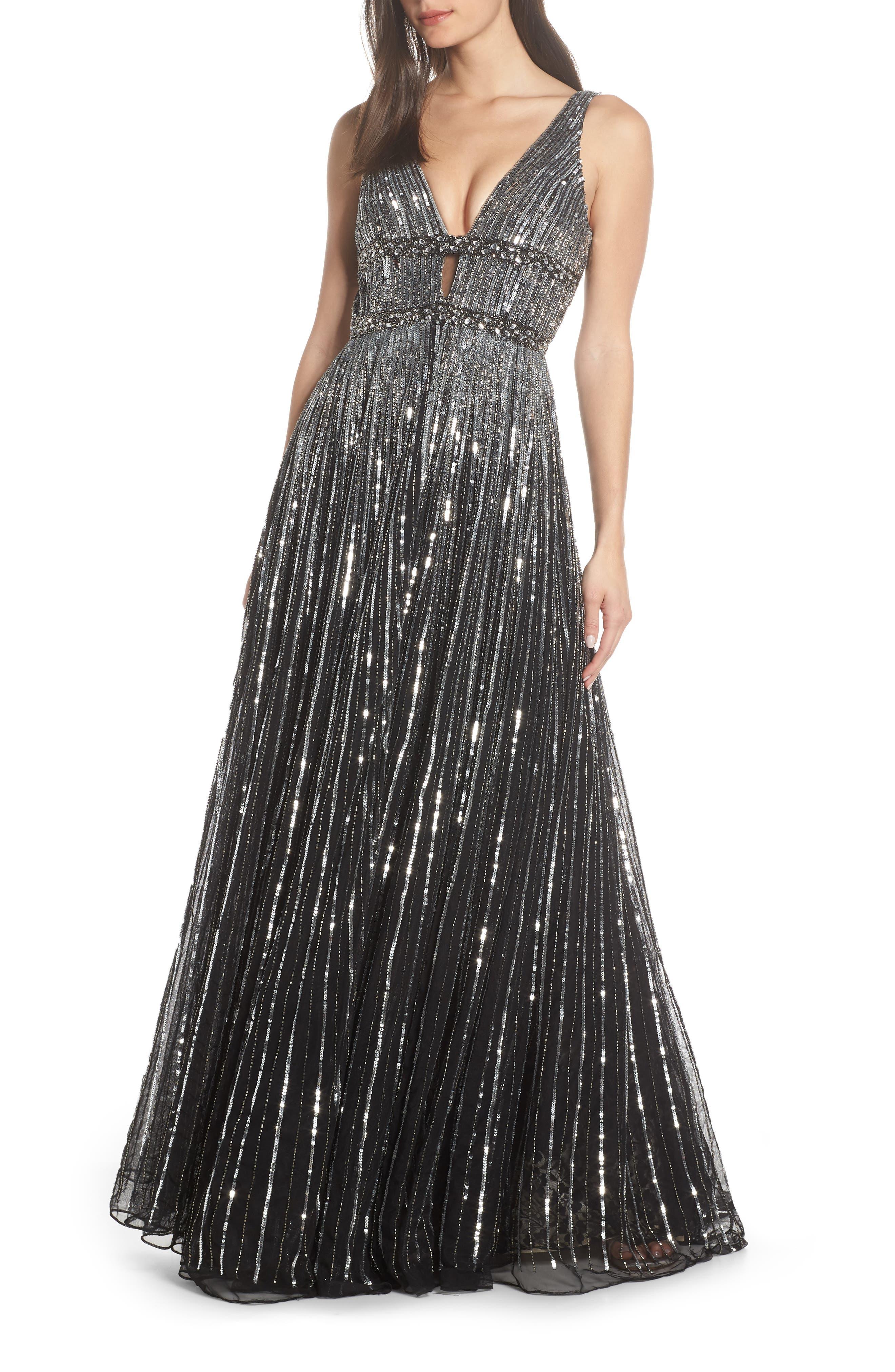 Deep V-Neck Sequin Stripe Gown, Main, color, BLACK SILVER