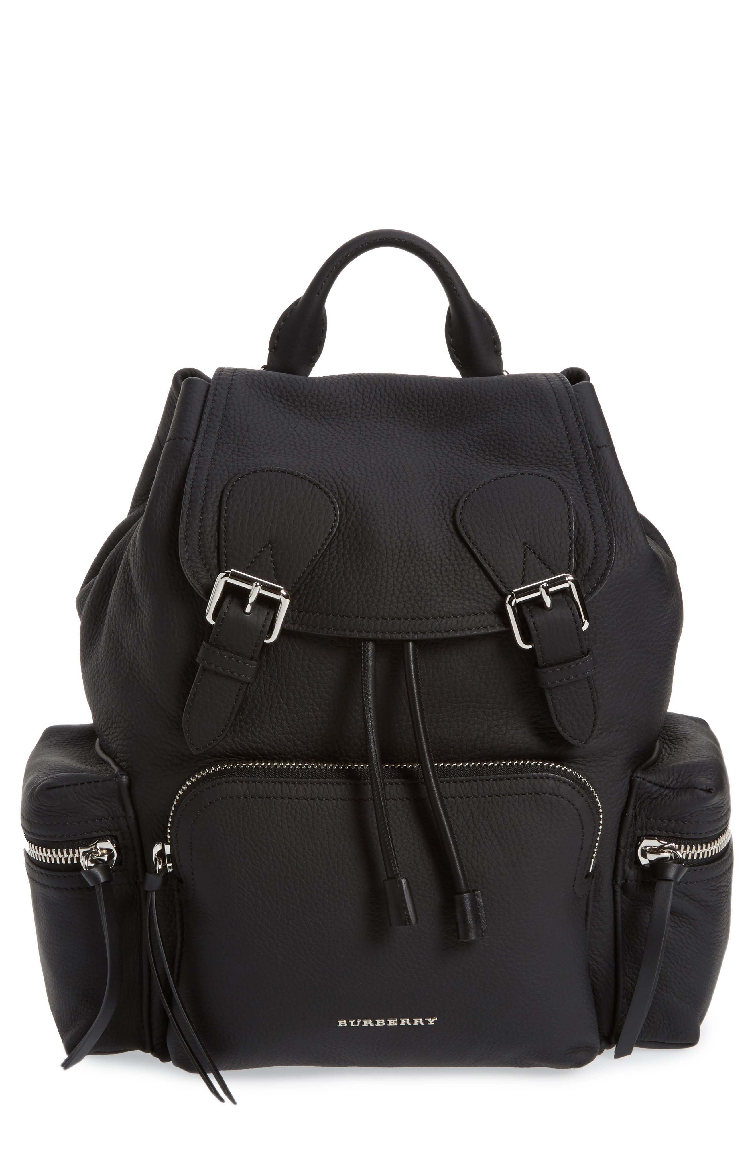 Medium Rucksack Leather Backpack,                         Main,                         color,