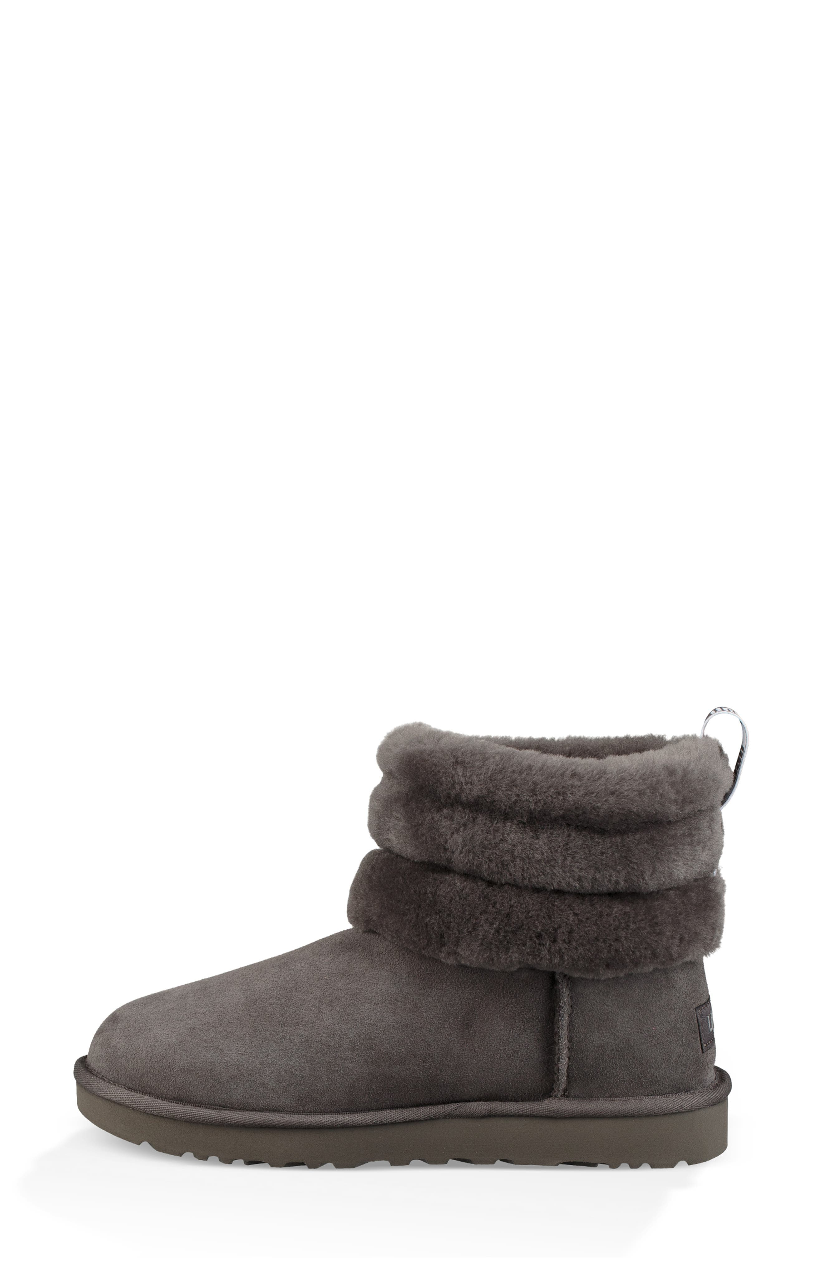 Classic Mini Fluff Quilted Boot,                             Alternate thumbnail 6, color,                             CHARCOAL SUEDE