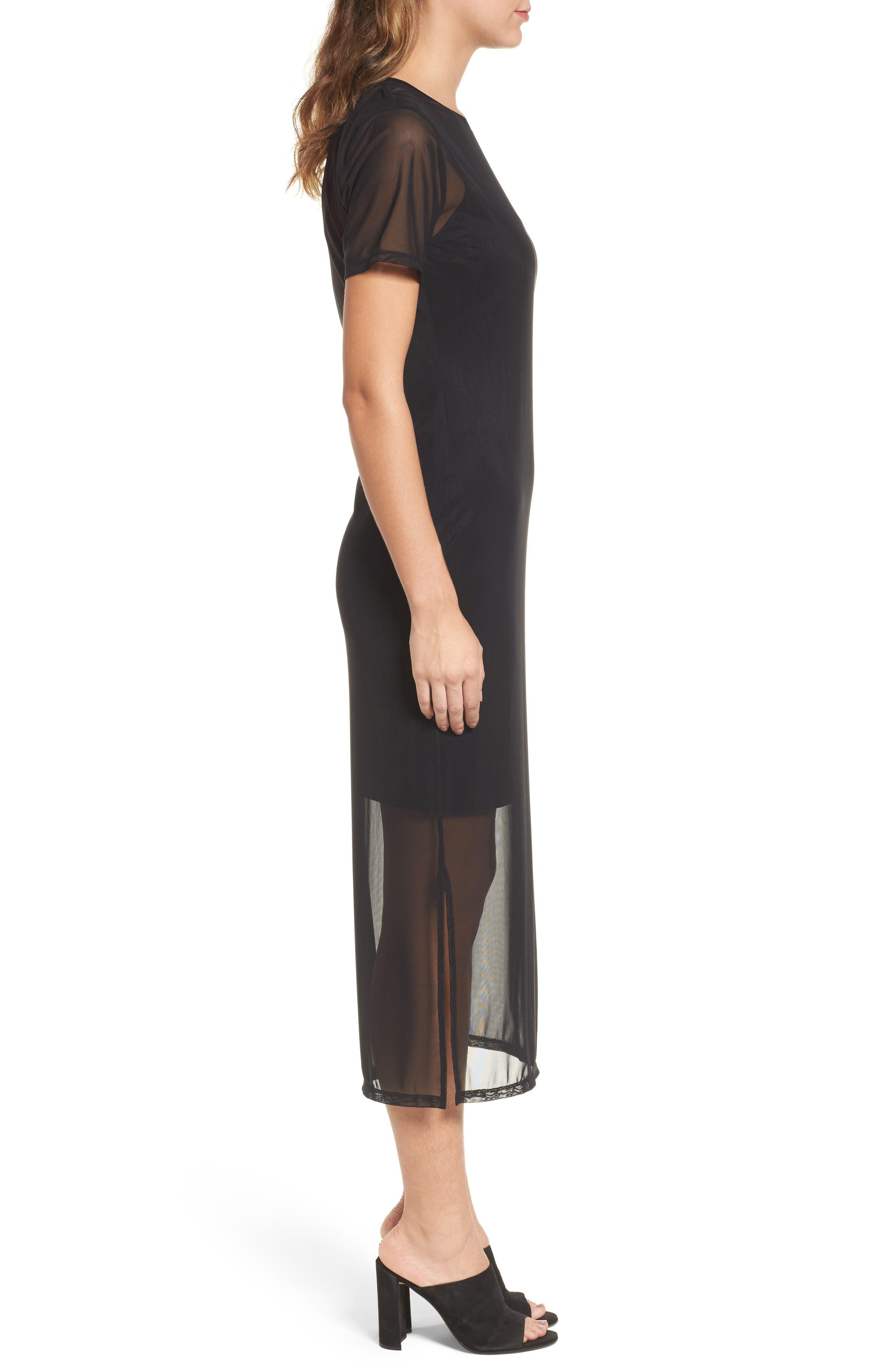 Mesh Midi Dress,                             Alternate thumbnail 3, color,