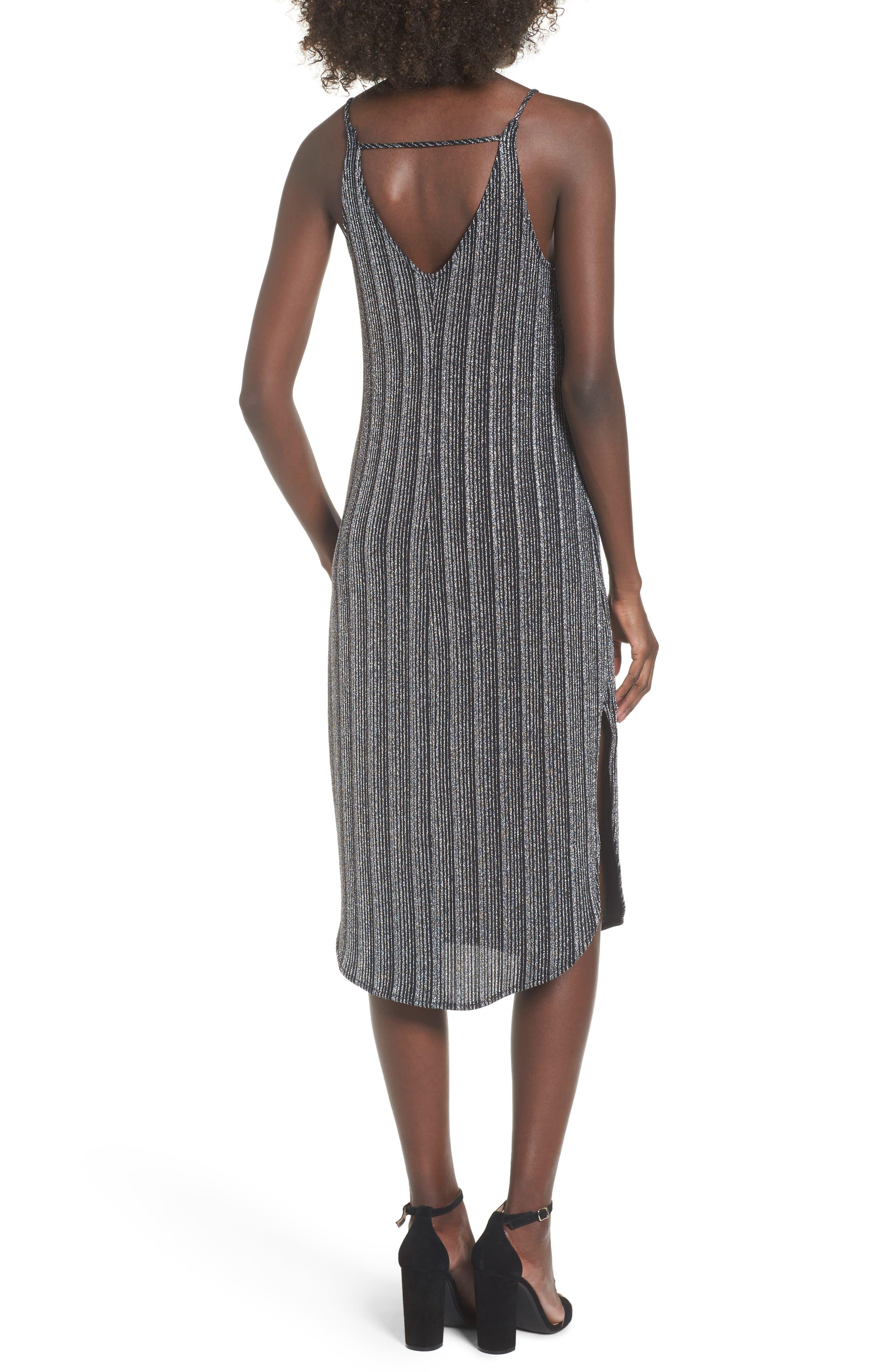 Metallic Ribbed Midi Dress,                             Alternate thumbnail 2, color,