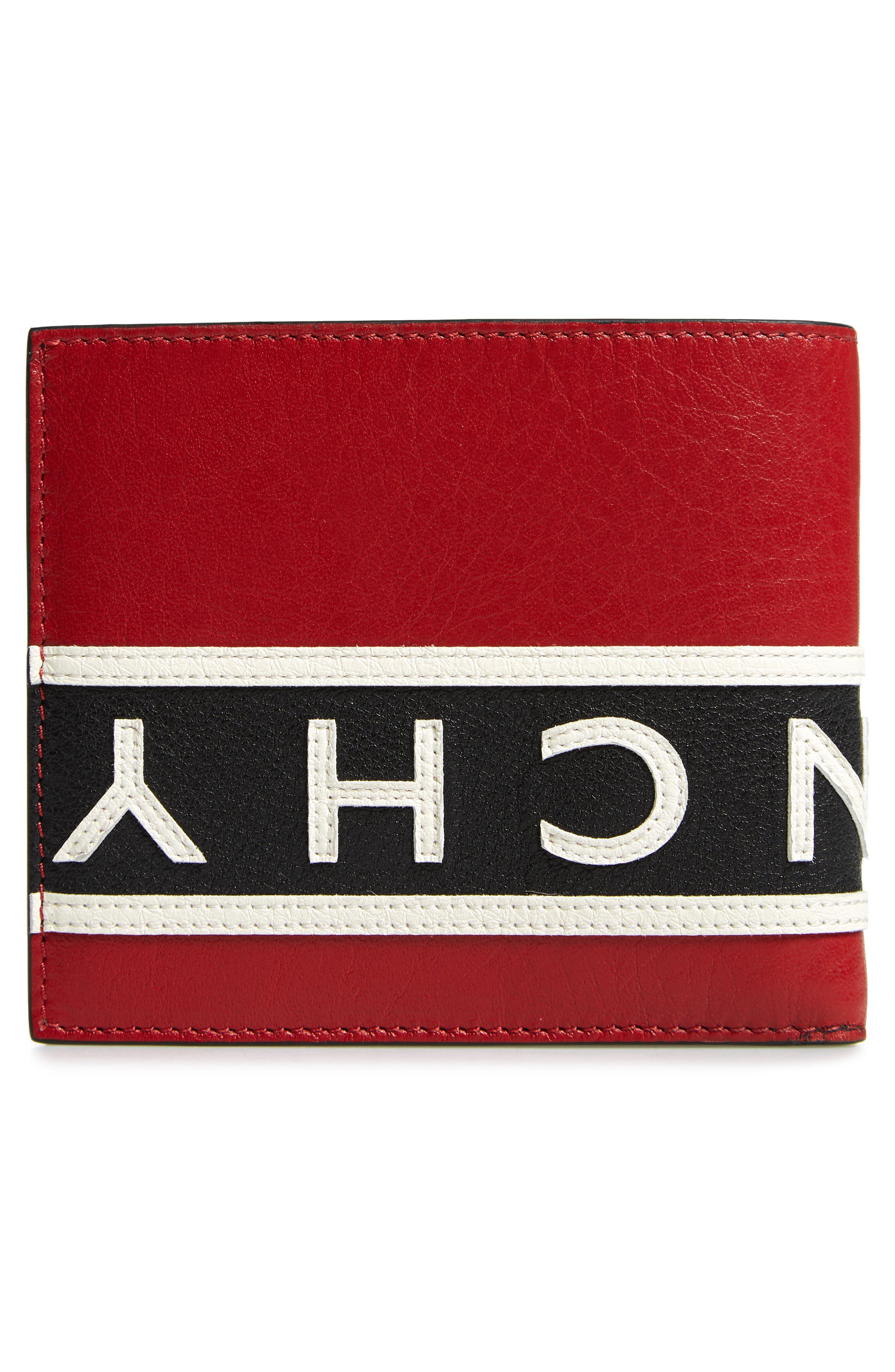 Reverse Logo Band Leather Wallet,                             Alternate thumbnail 3, color,                             BLACK/ WHITE/ RED
