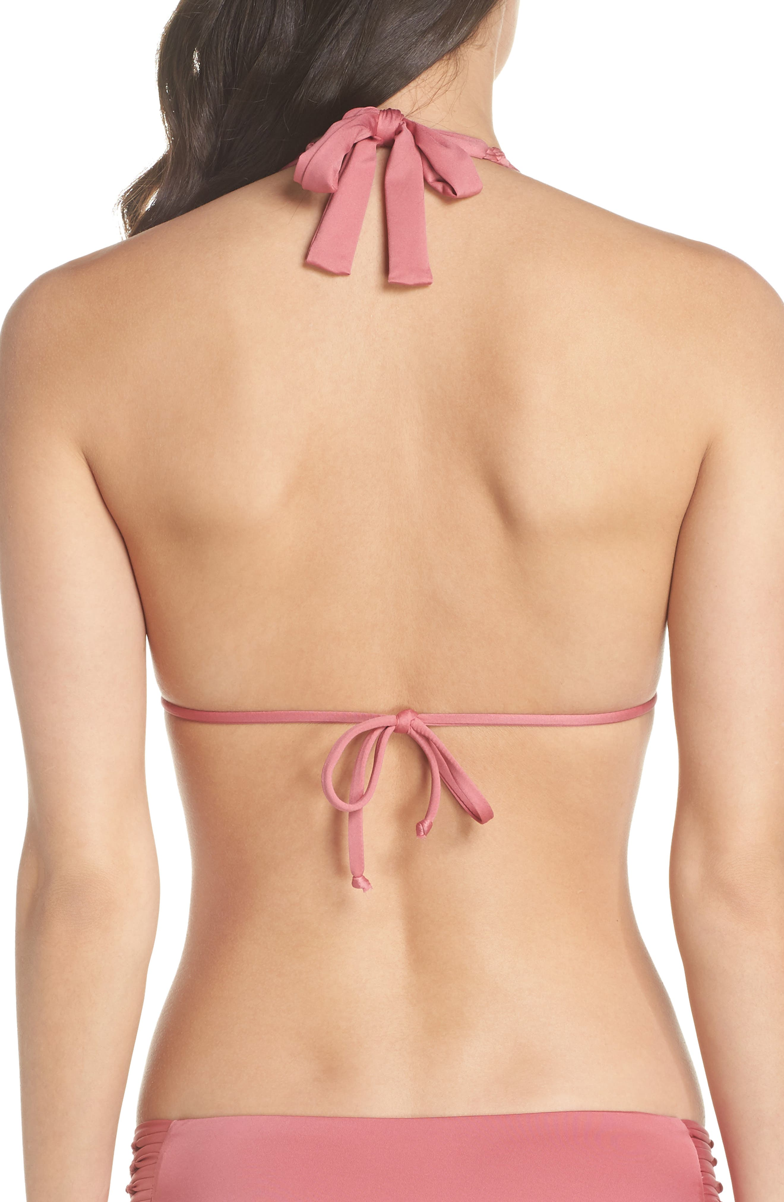 Why Knot String Bikini Top,                             Alternate thumbnail 2, color,                             DUSTY ROSE
