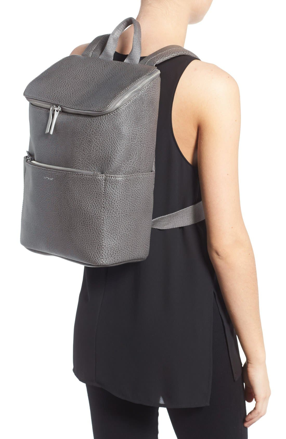 'Brave' Faux Leather Backpack,                             Alternate thumbnail 28, color,