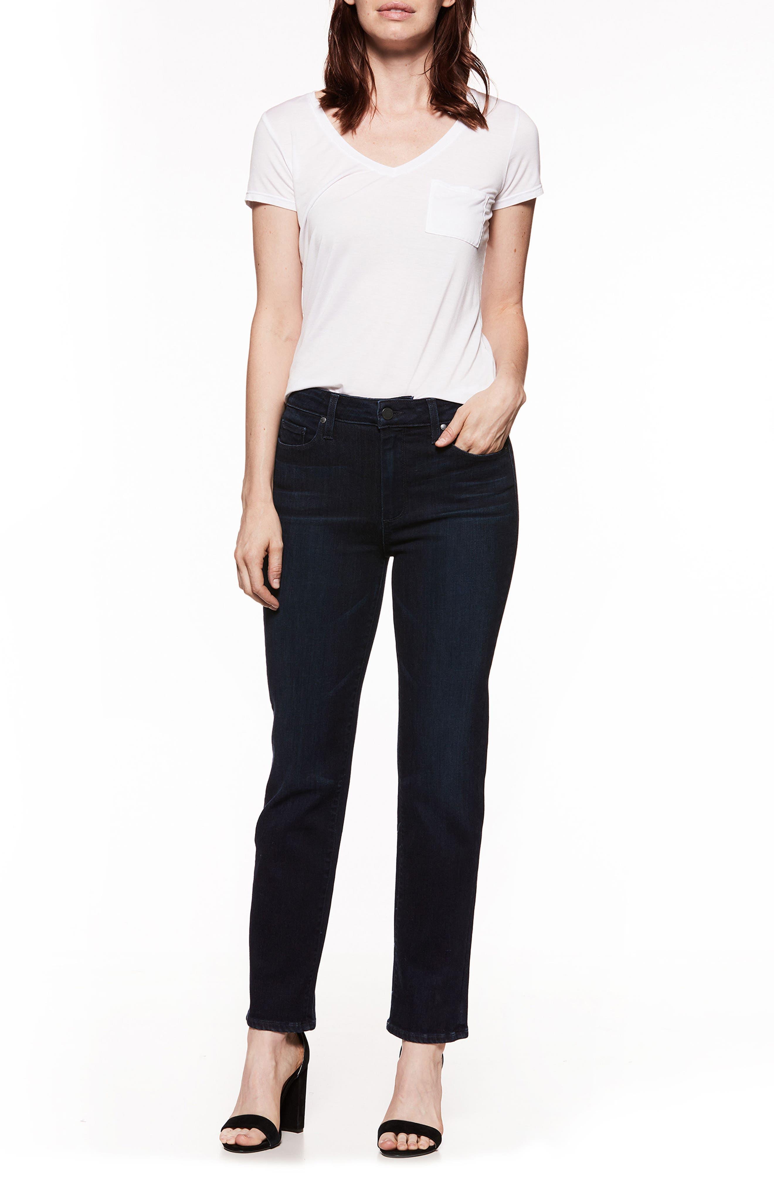Jacqueline High Waist Crop Straight Leg Jeans,                             Alternate thumbnail 3, color,
