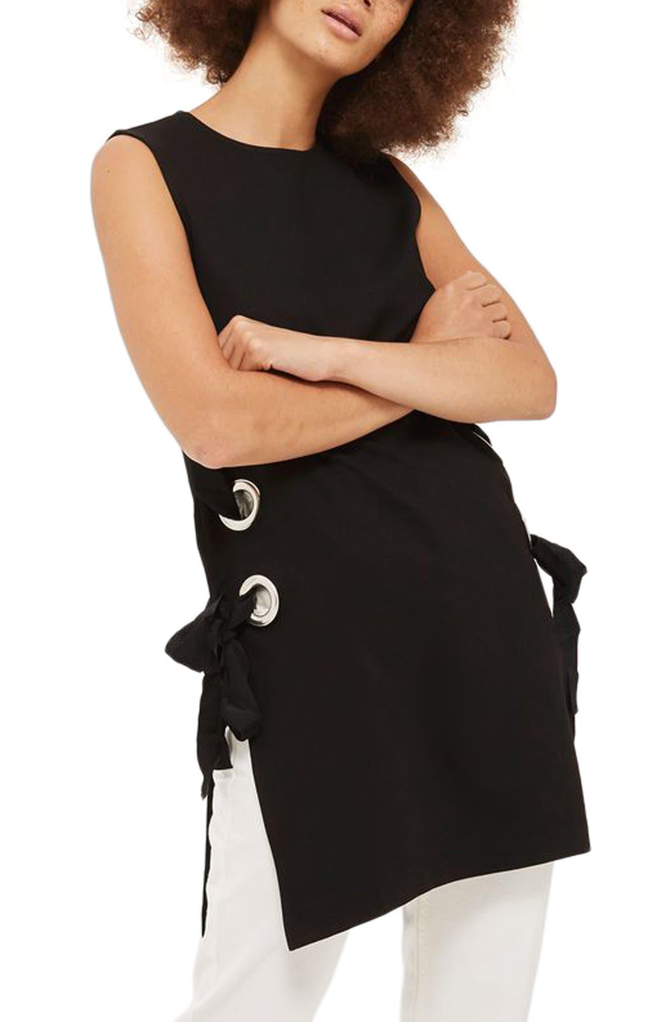 Lace-Up Grommet Tunic,                         Main,                         color, 001