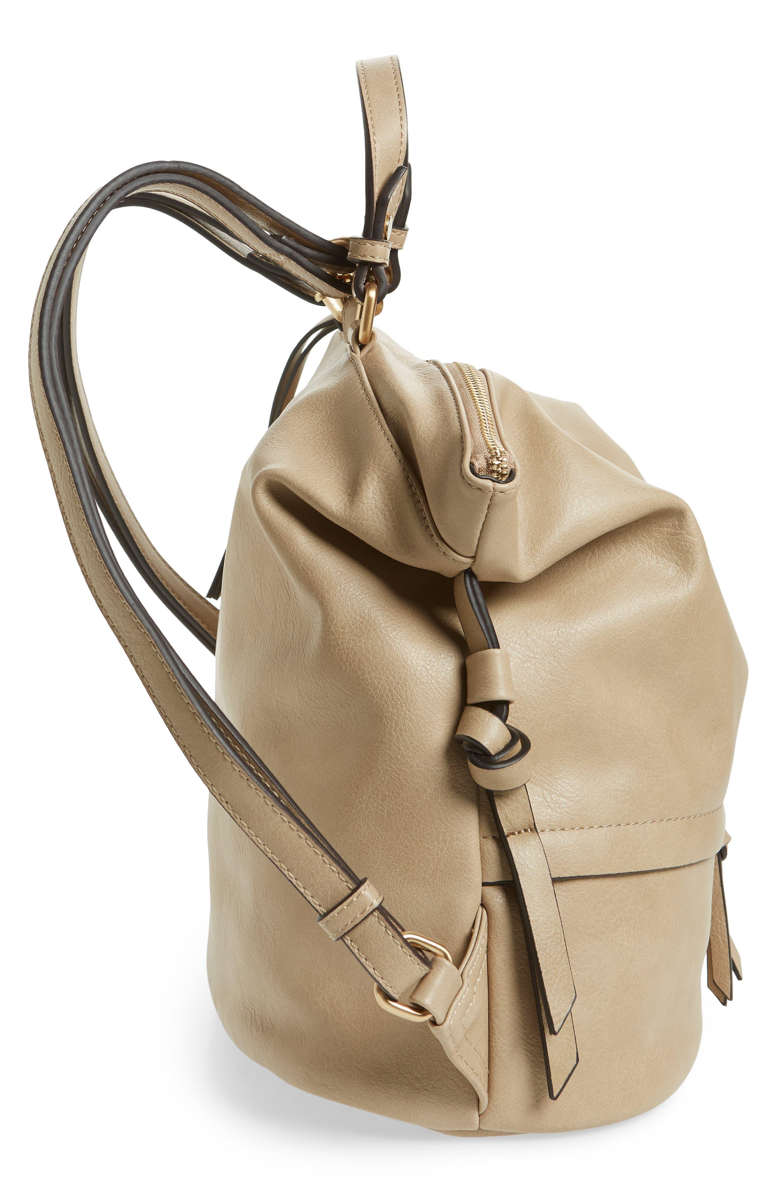 Josah Faux Leather Backpack,                             Alternate thumbnail 5, color,                             SAFARI