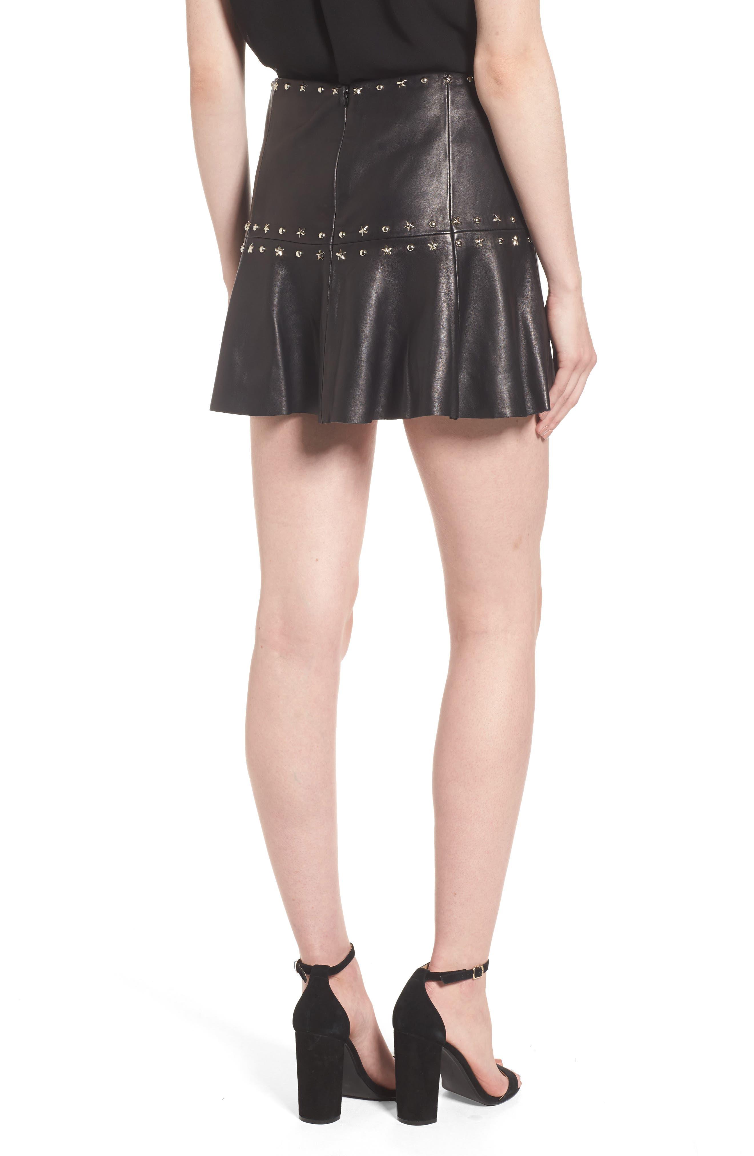 Grommet Suede Miniskirt,                             Alternate thumbnail 2, color,