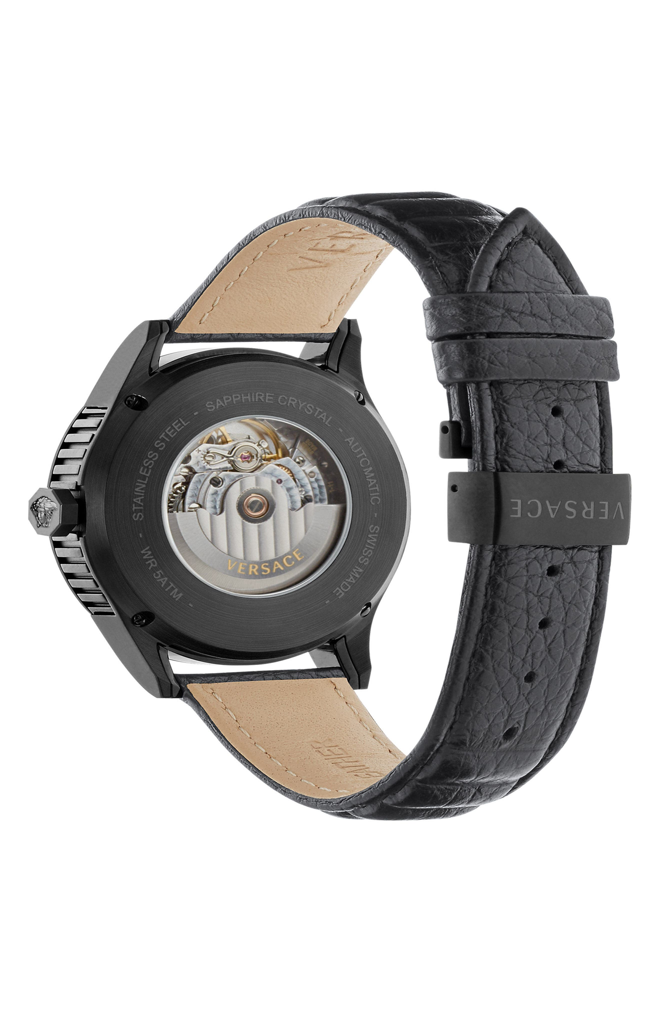 Aiakos Automatic Leather Strap Watch, 44mm,                             Alternate thumbnail 2, color,                             001