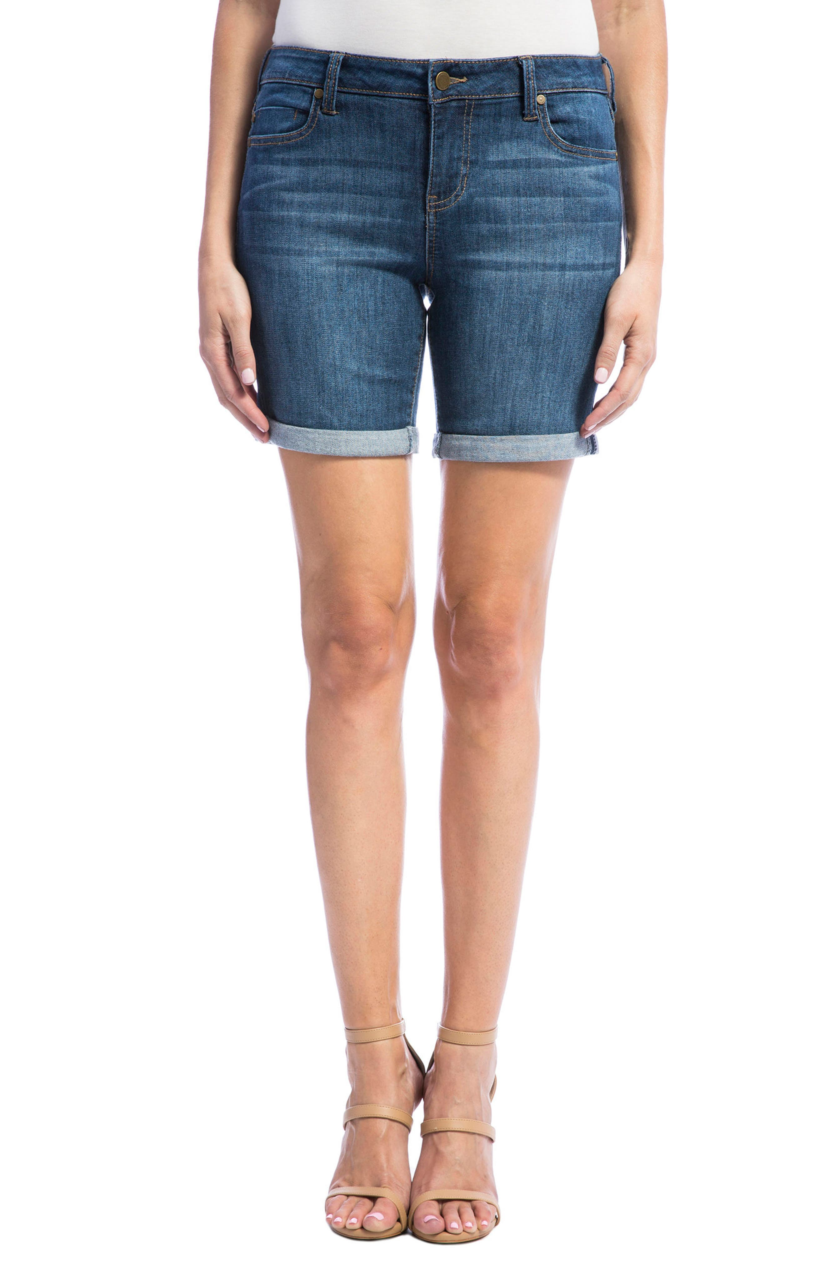 Corine Stretch Denim Shorts,                             Main thumbnail 1, color,                             404