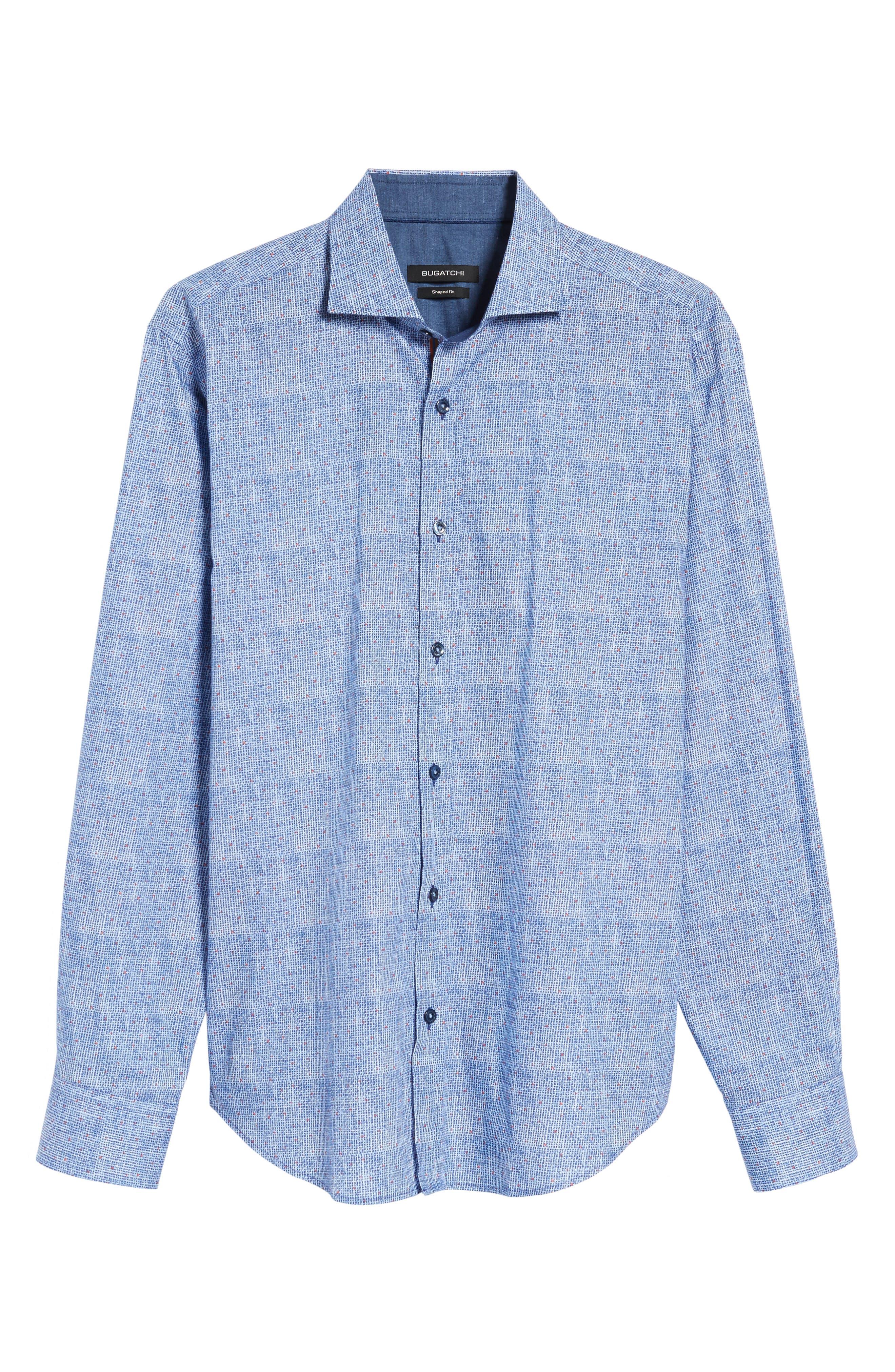Shaped Fit Plaid Sport Shirt,                             Alternate thumbnail 6, color,                             422