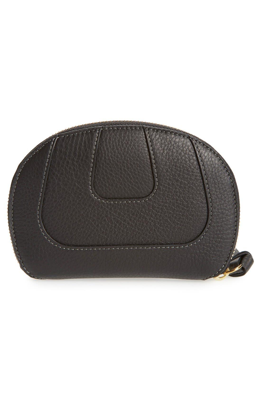 CHLOÉ,                             'Hayley' Zip Around Calfskin Leather Wallet,                             Alternate thumbnail 5, color,                             001
