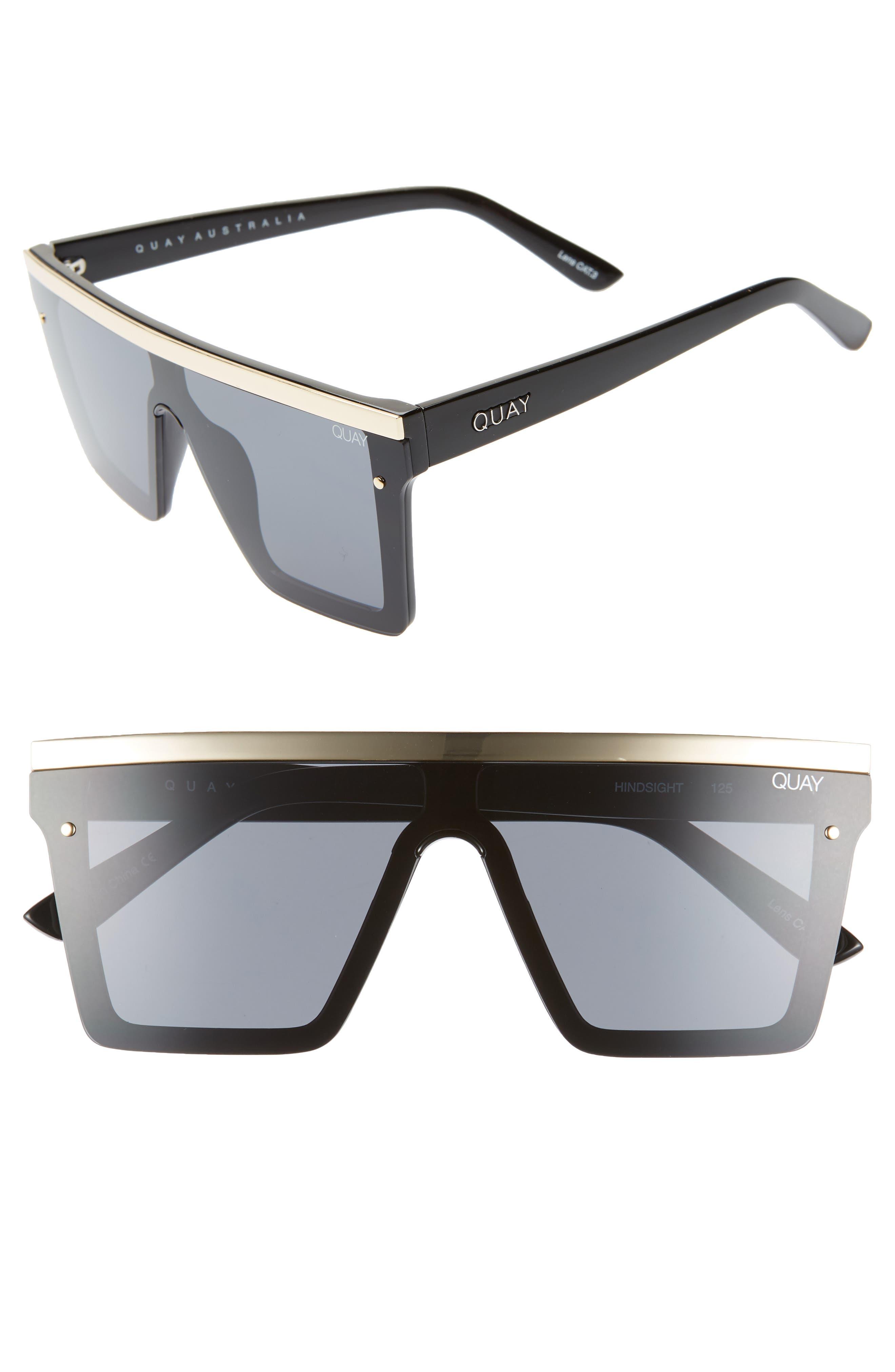 Quay Australia Hindsight 150Mm Shield Sunglasses - Black Gold / Smoke