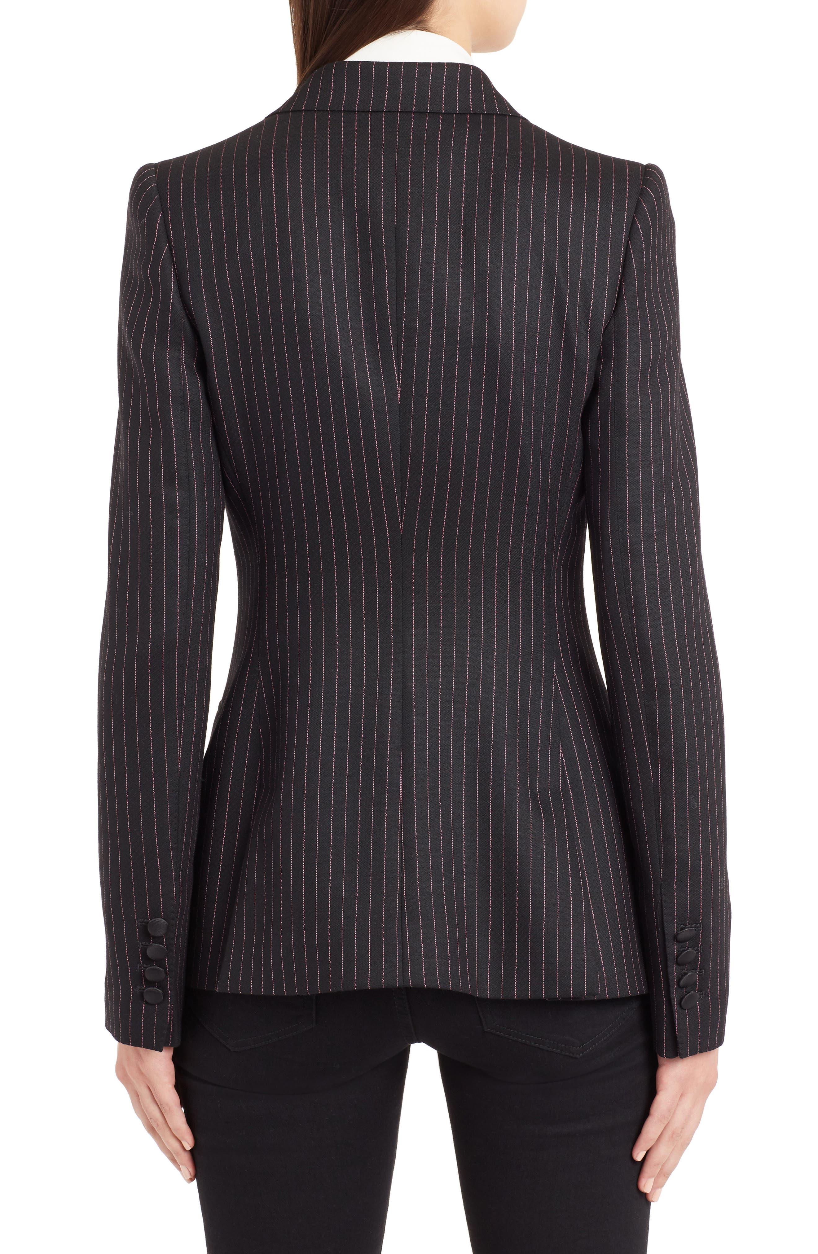 Pinstripe Stretch Wool Jacket,                             Alternate thumbnail 2, color,                             BLACK