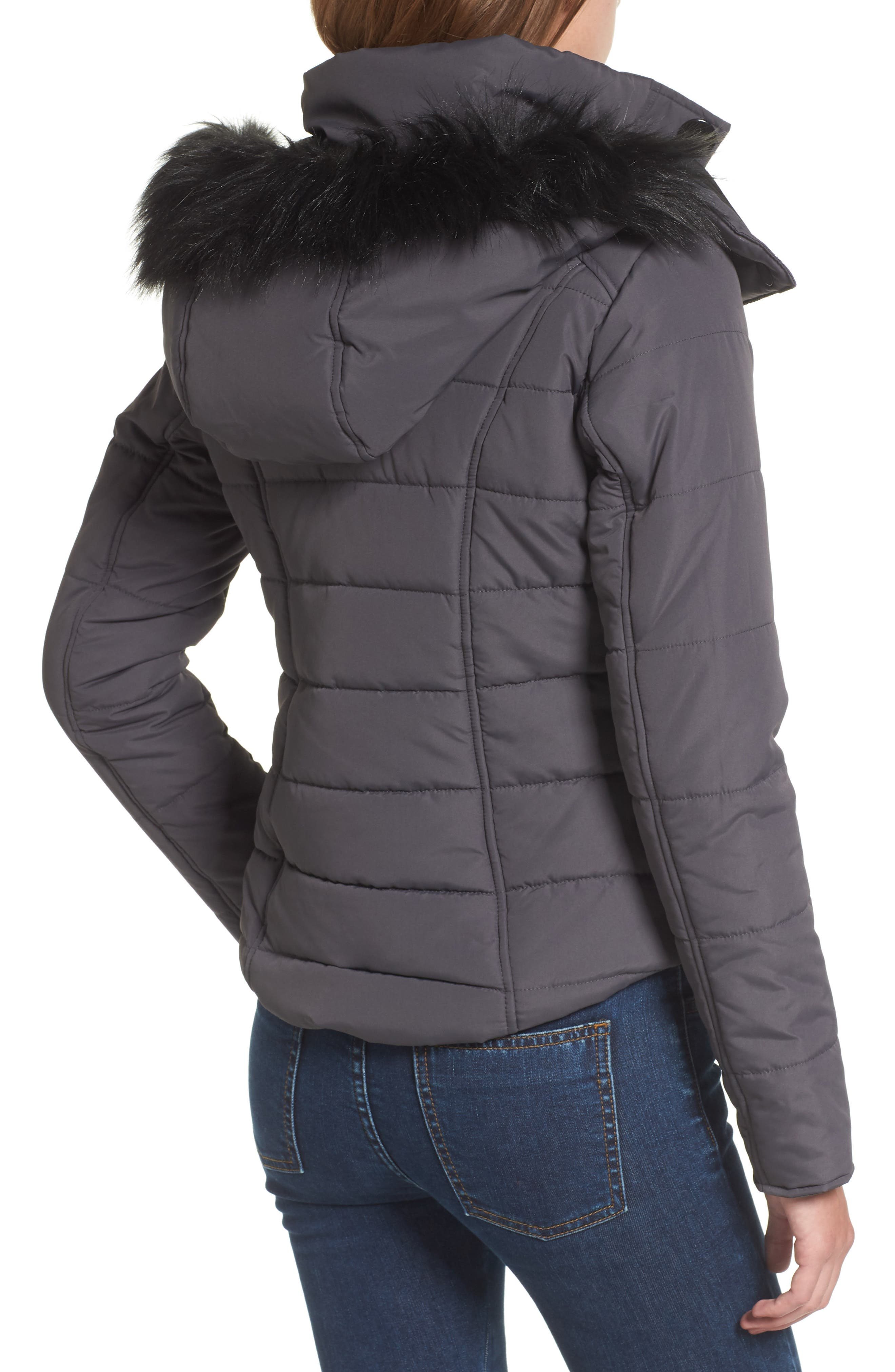 Faux Fur Trim Hooded Puffer Jacket,                             Alternate thumbnail 2, color,                             036