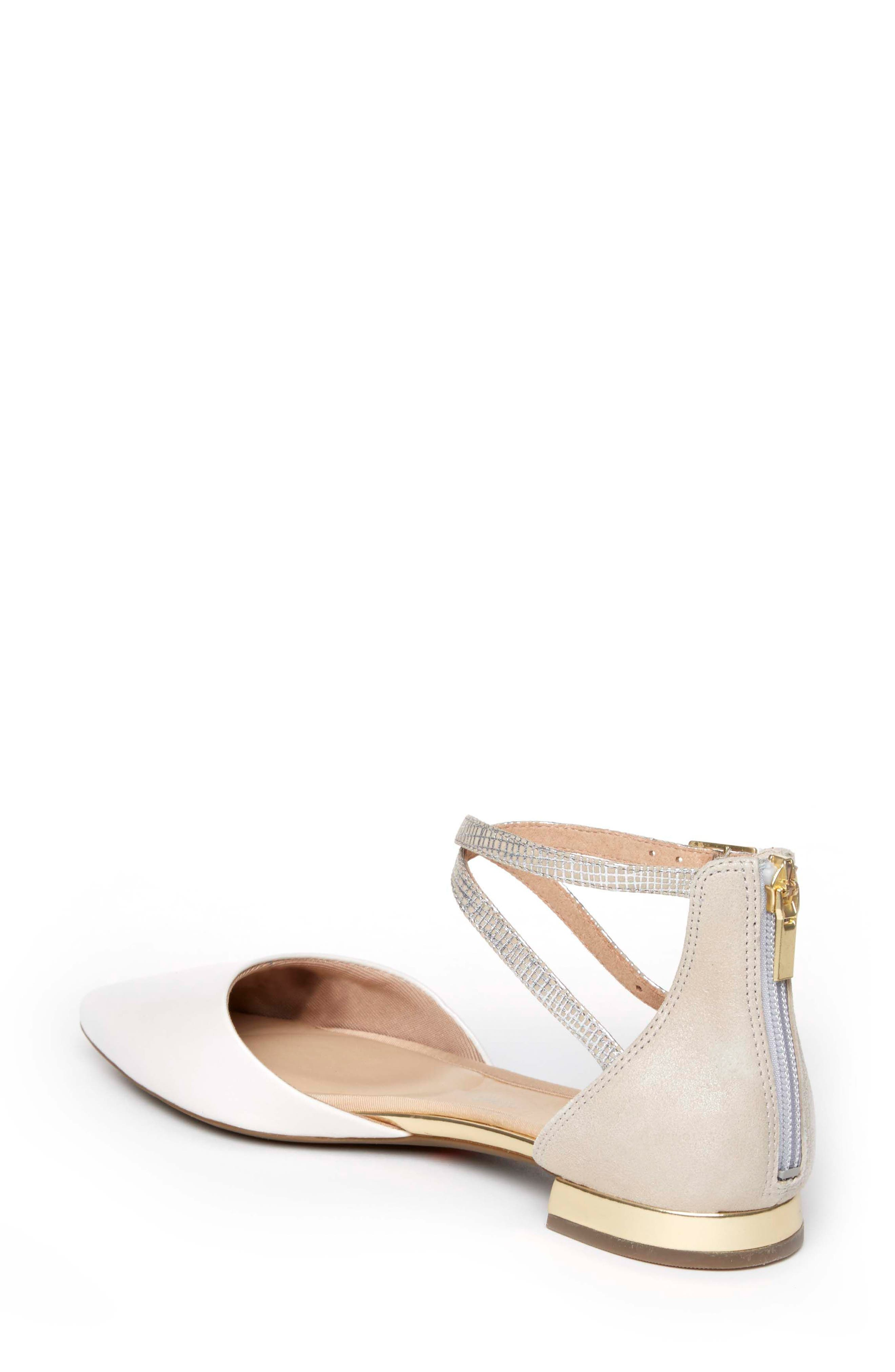 Total Motion<sup>®</sup> Zuly Luxe Ankle Strap Flat,                             Alternate thumbnail 2, color,                             WHITE LEATHER