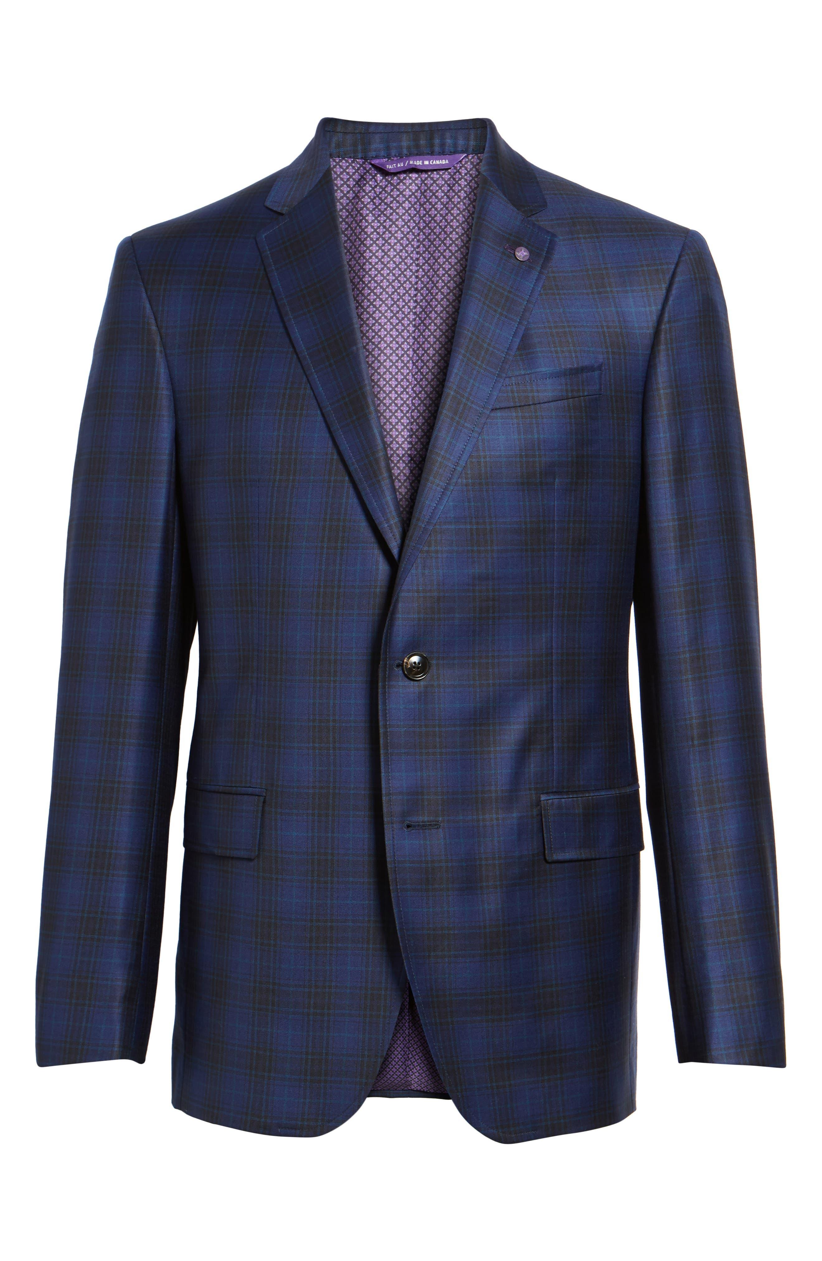Jay Trim Fit Plaid Wool Sport Coat,                             Alternate thumbnail 5, color,