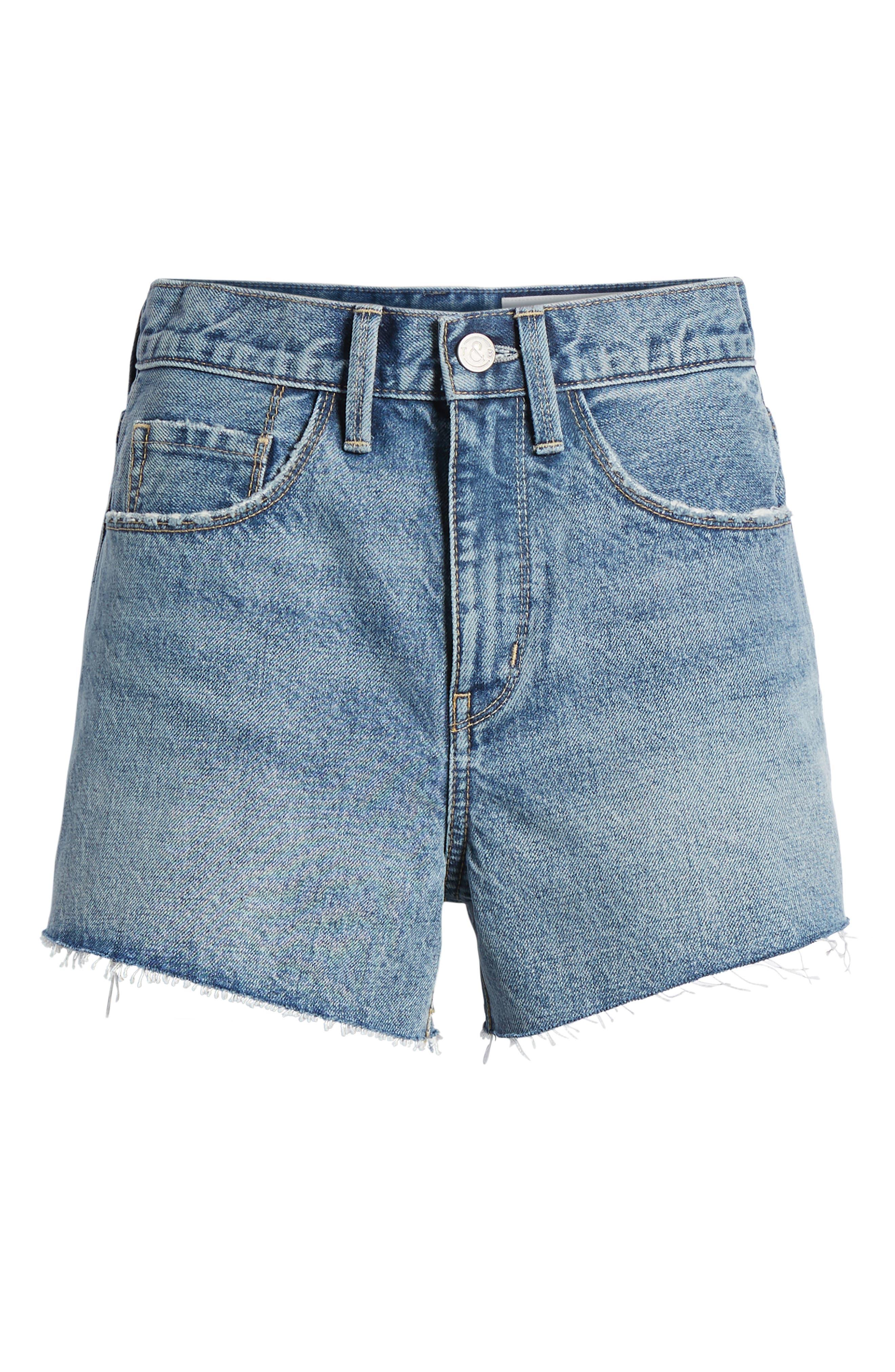 High Waist Cutoff Denim Shorts,                             Alternate thumbnail 7, color,                             420