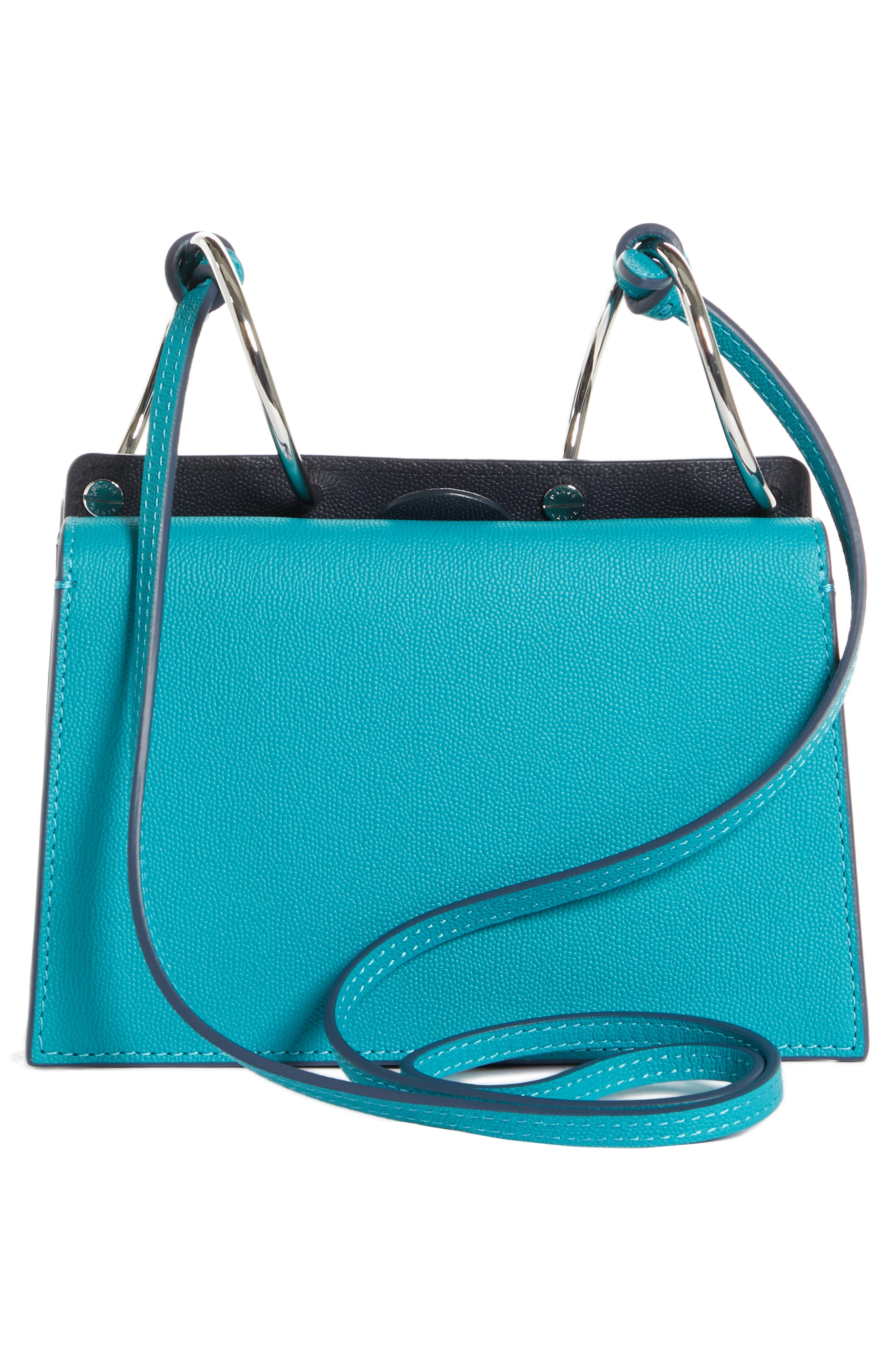 Mini Phoebe Leather Bag,                             Alternate thumbnail 3, color,                             TURQUOISE