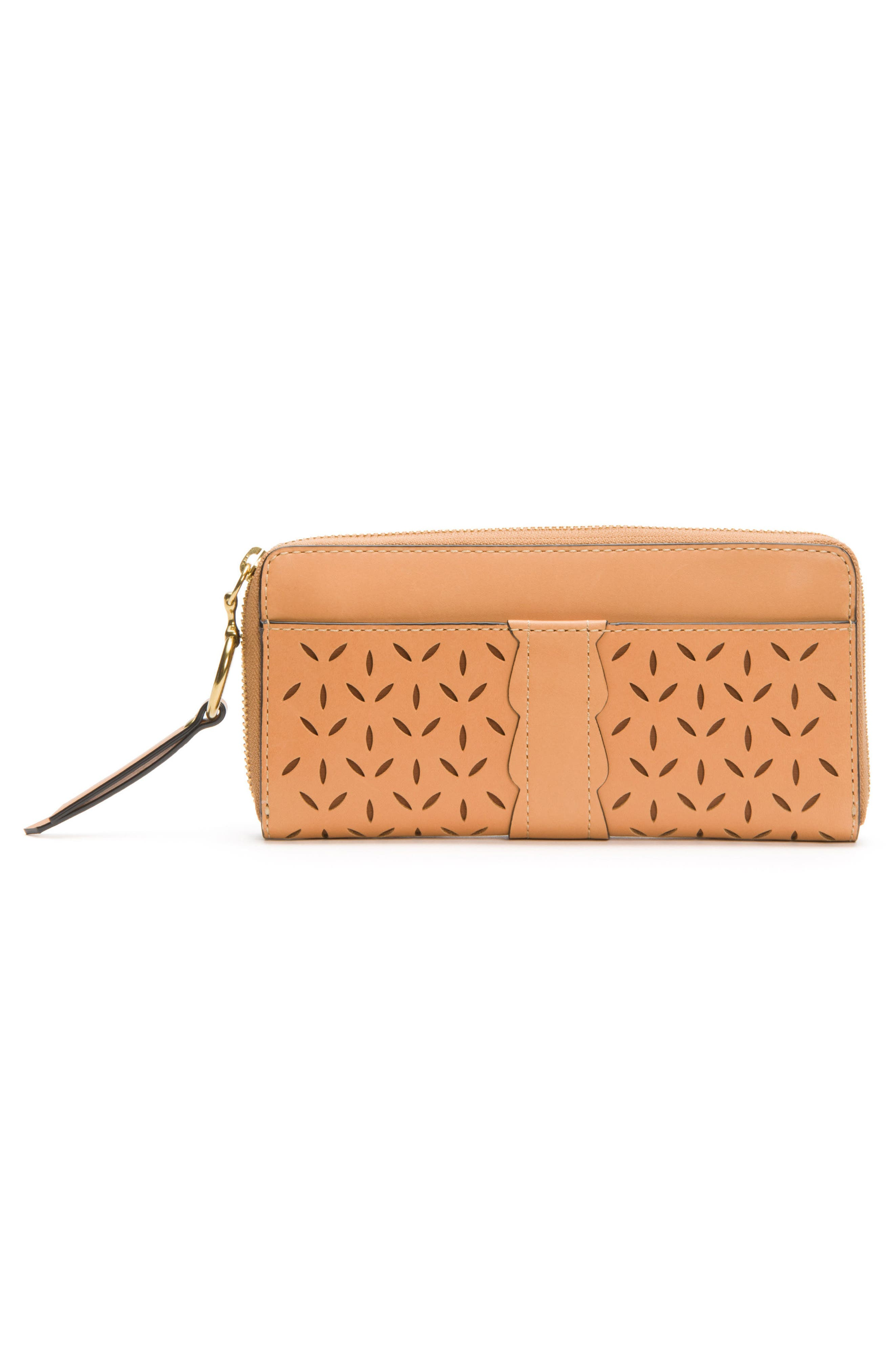 Large Ilana Perforated Leather Zip Wallet,                             Alternate thumbnail 8, color,
