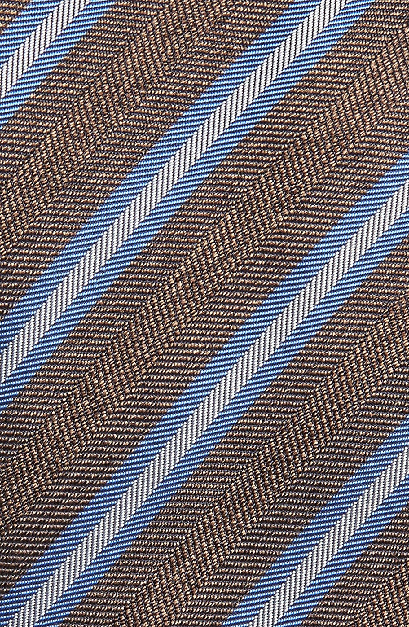Stripe Linen & Silk X-Long Tie,                             Alternate thumbnail 2, color,                             CHOCOLATE
