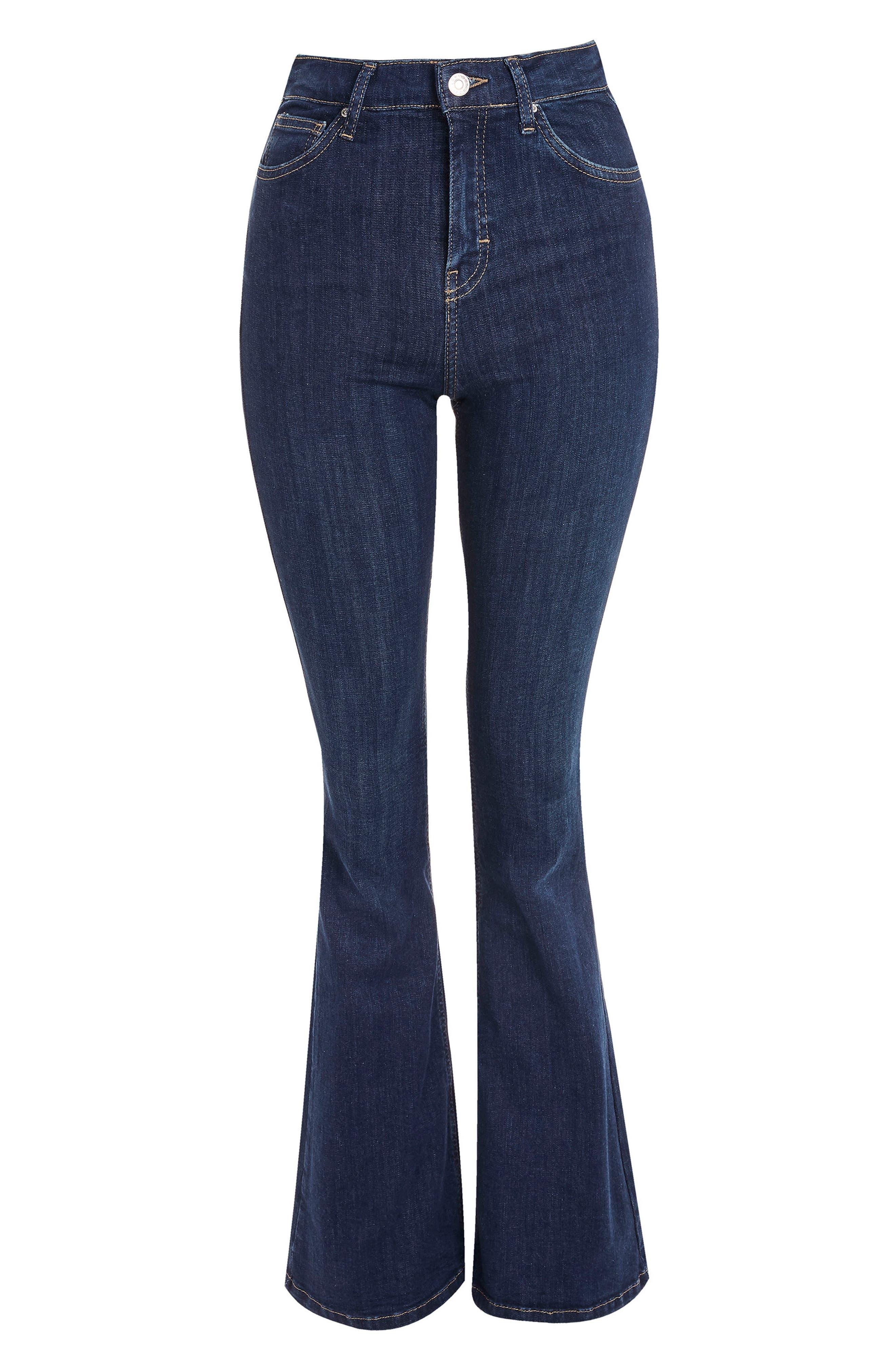Jamie Petite Flared Jeans,                             Alternate thumbnail 4, color,                             MID DENIM